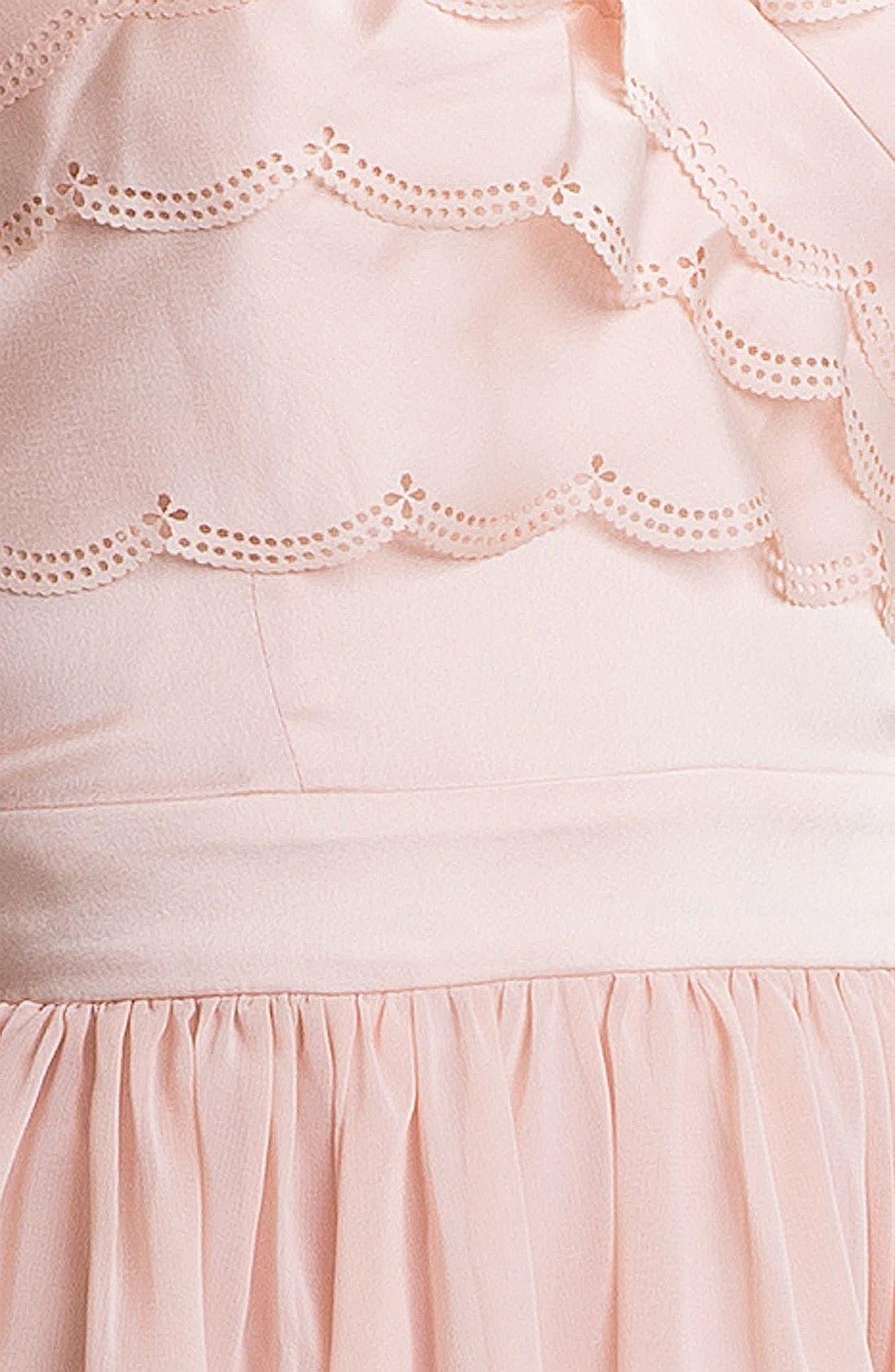 Alternate Image 3  - En Crème Strapless Scalloped Chiffon Dress (Juniors)