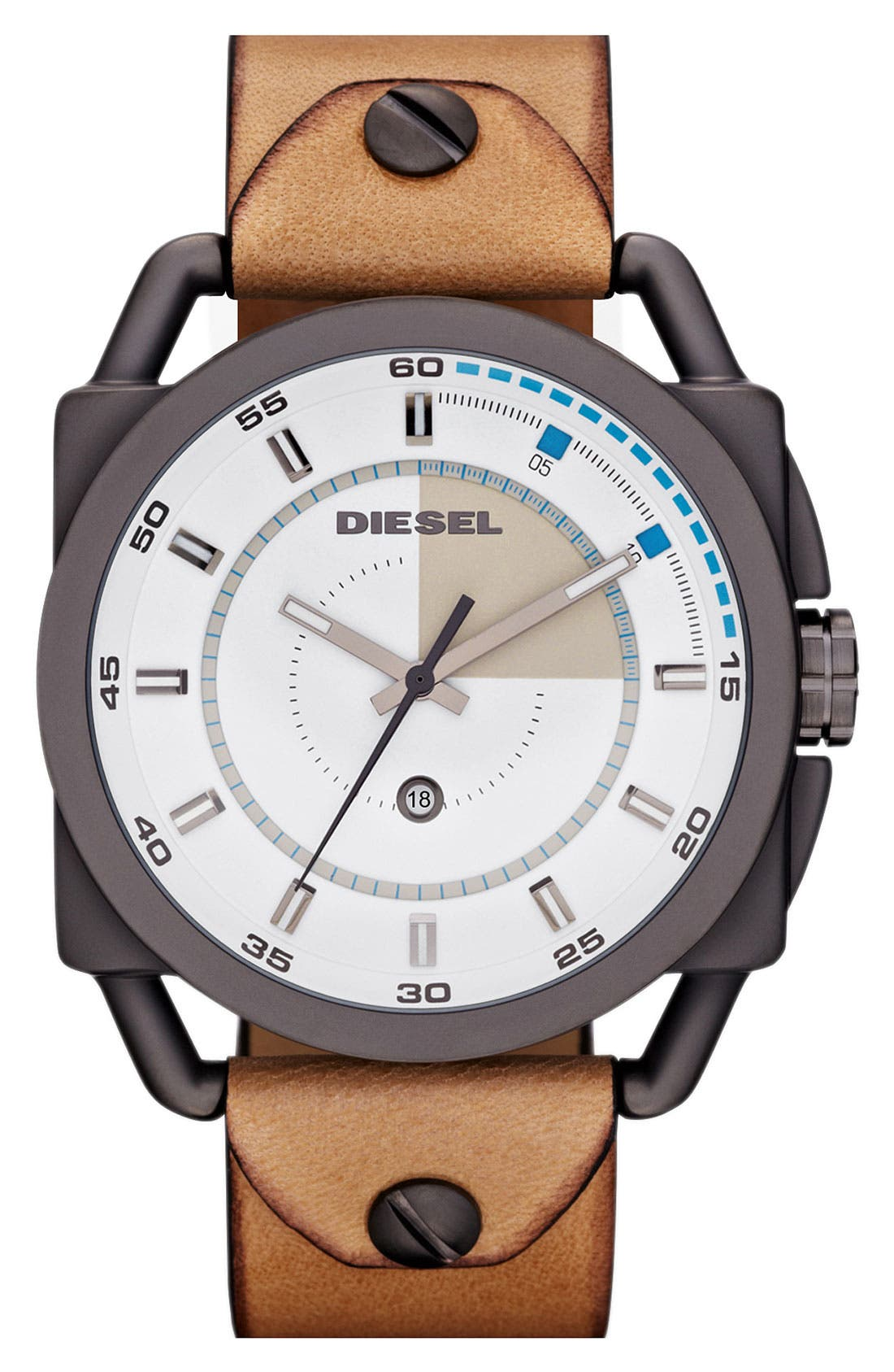 Main Image - DIESEL® 'Descender' Leather Strap Watch, 50mm