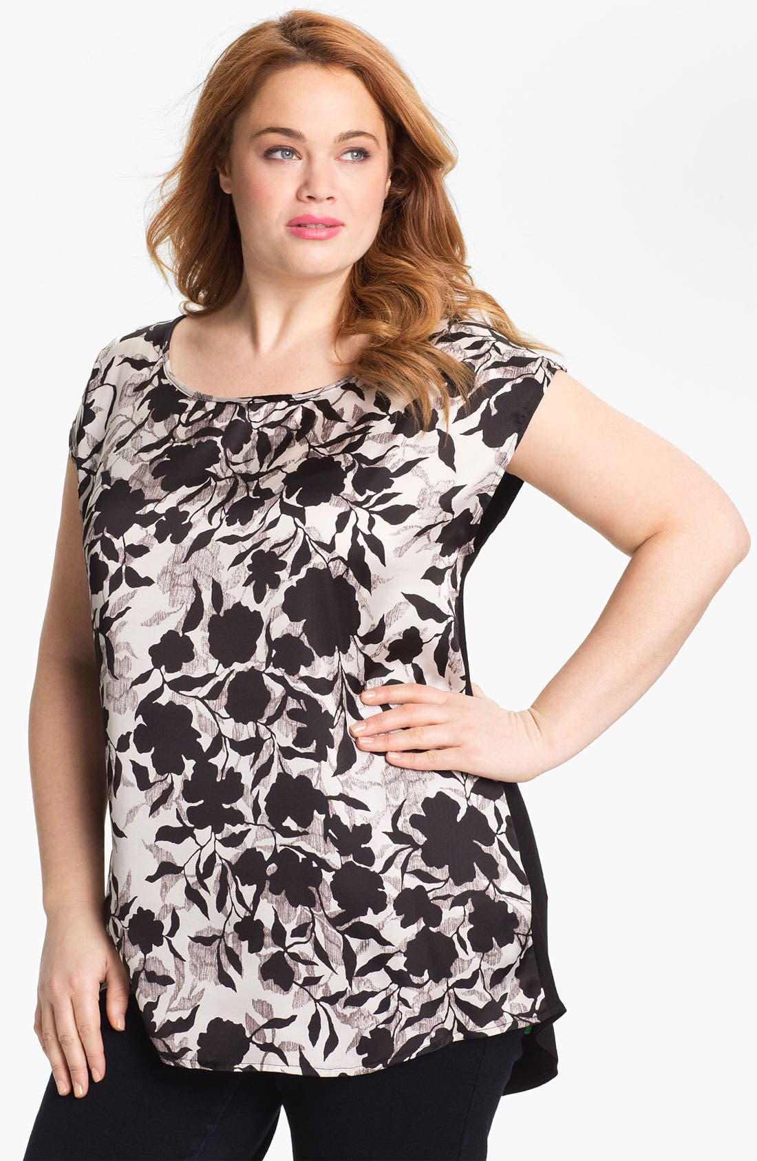 Alternate Image 1 Selected - Evans Floral Print Short Sleeve Top (Plus Size)