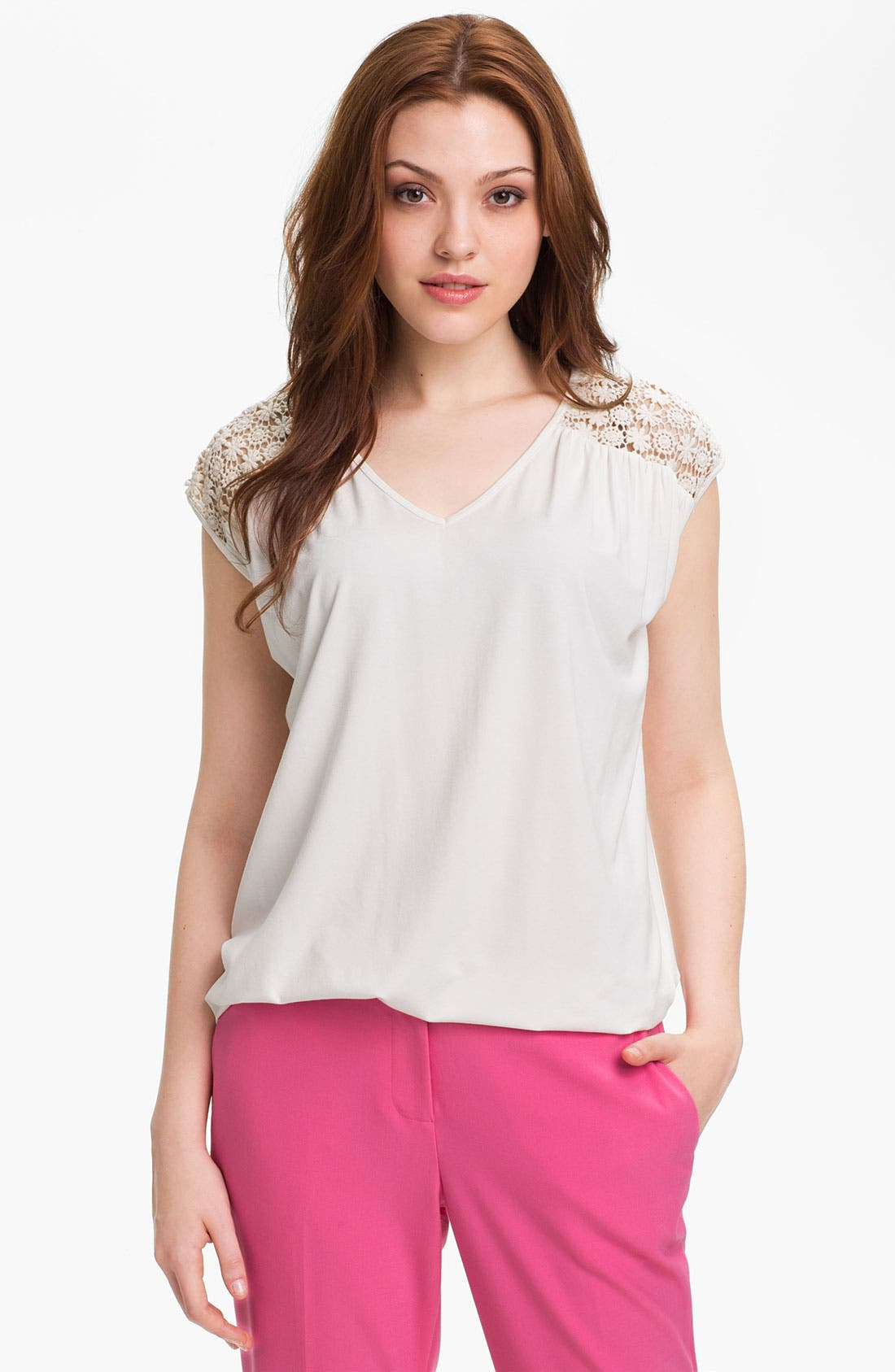 Alternate Image 1 Selected - Vince Camuto Lace Yoke V-Neck Top