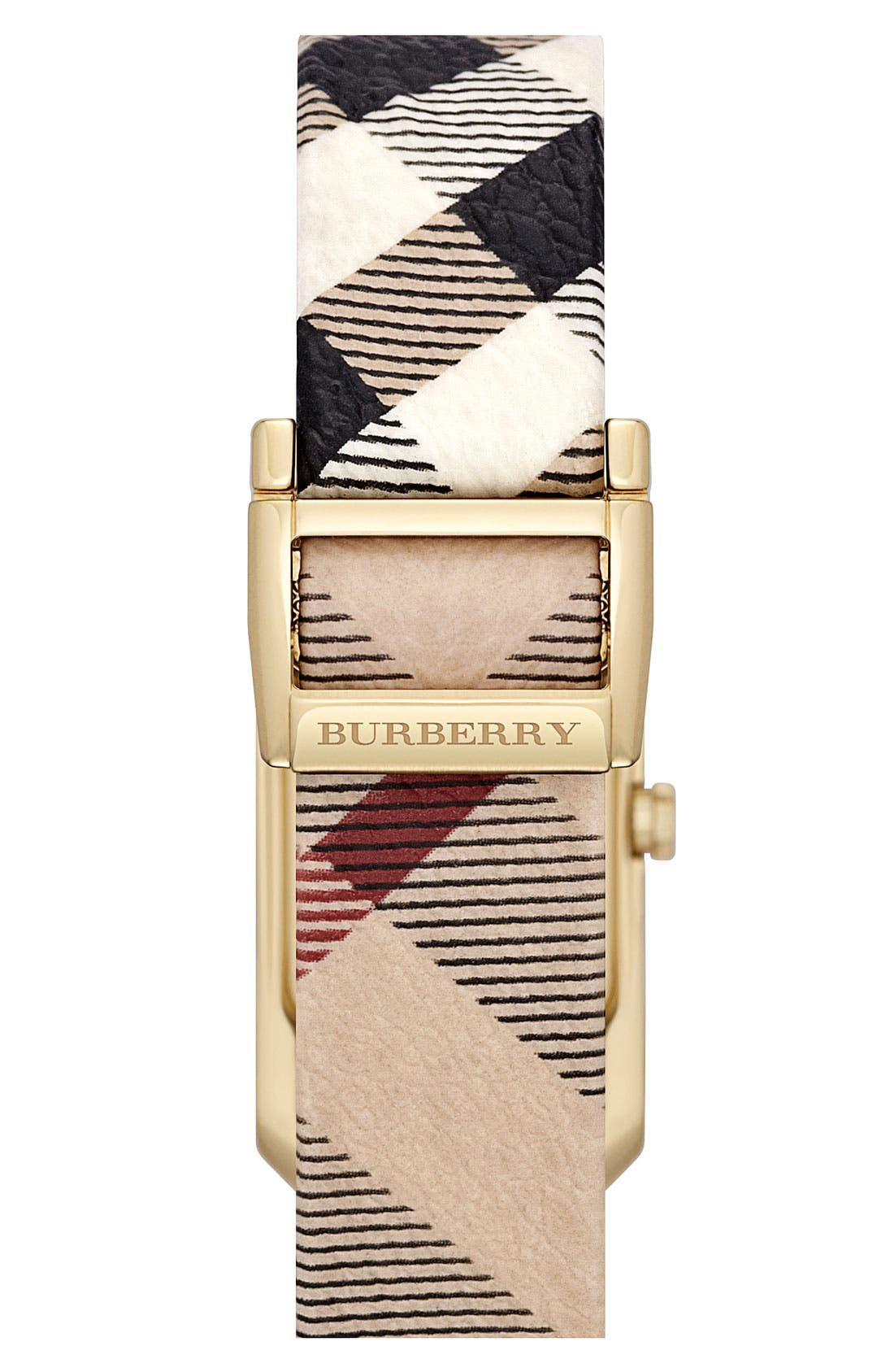 Alternate Image 3  - Burberry Rectangular Check Strap Watch, 20mm x 26mm