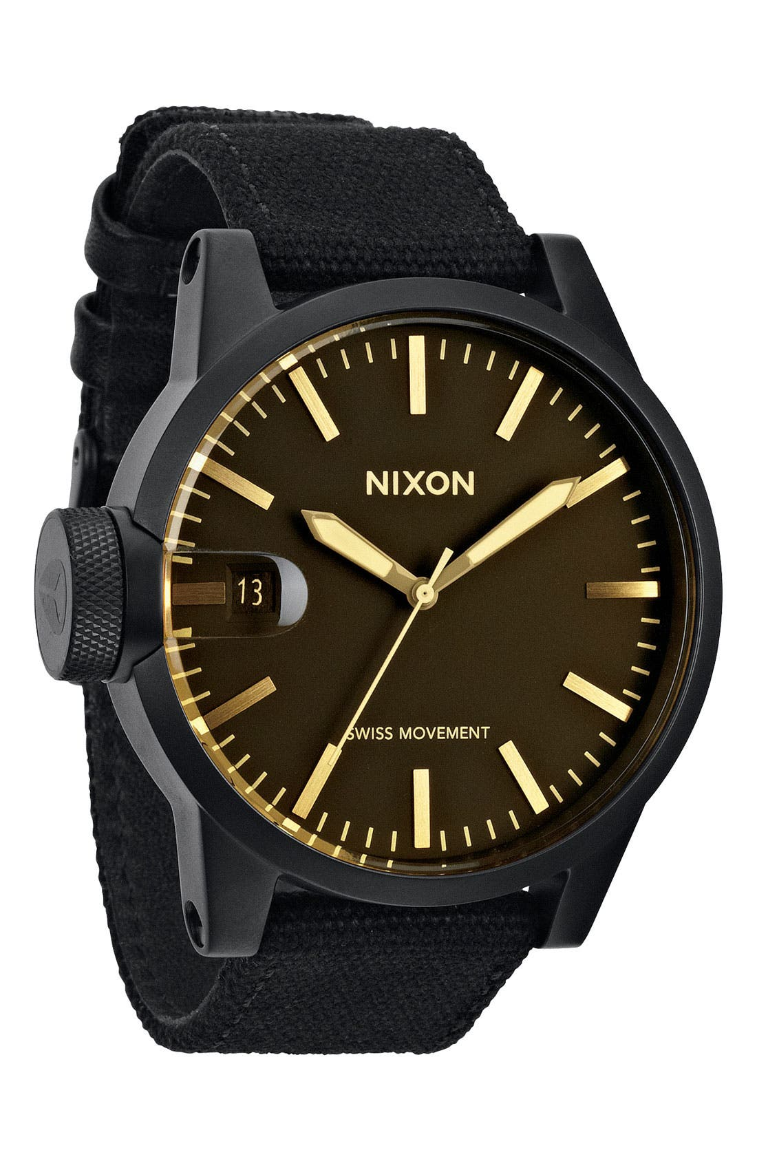 Alternate Image 1 Selected - Nixon 'The Chronicle' Canvas Strap Watch, 48mm