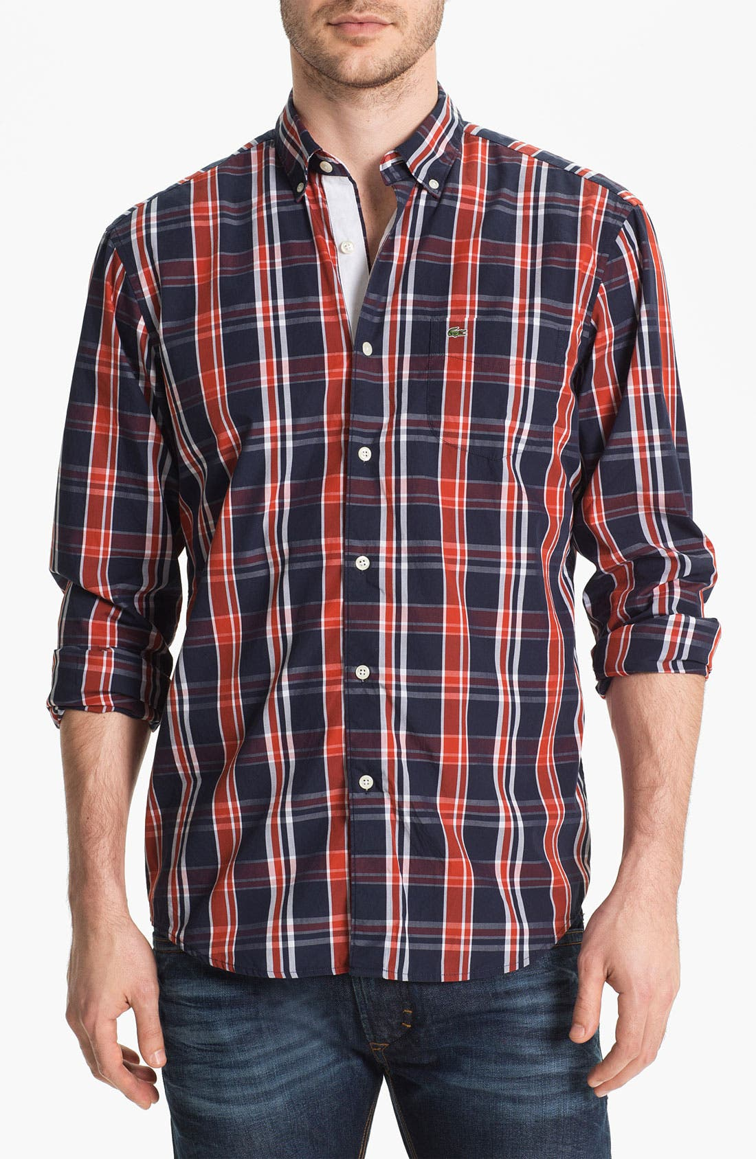 Alternate Image 1 Selected - Lacoste Plaid Woven Shirt