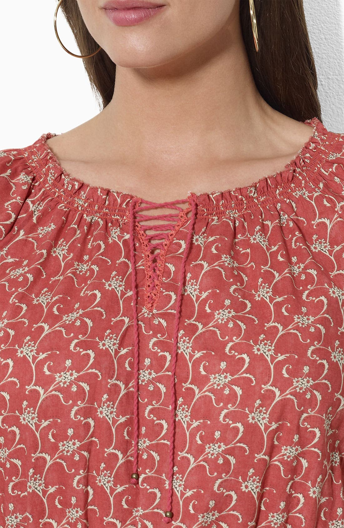 Alternate Image 3  - Lauren Ralph Lauren Print Lace Up Peasant Top (Plus Size)