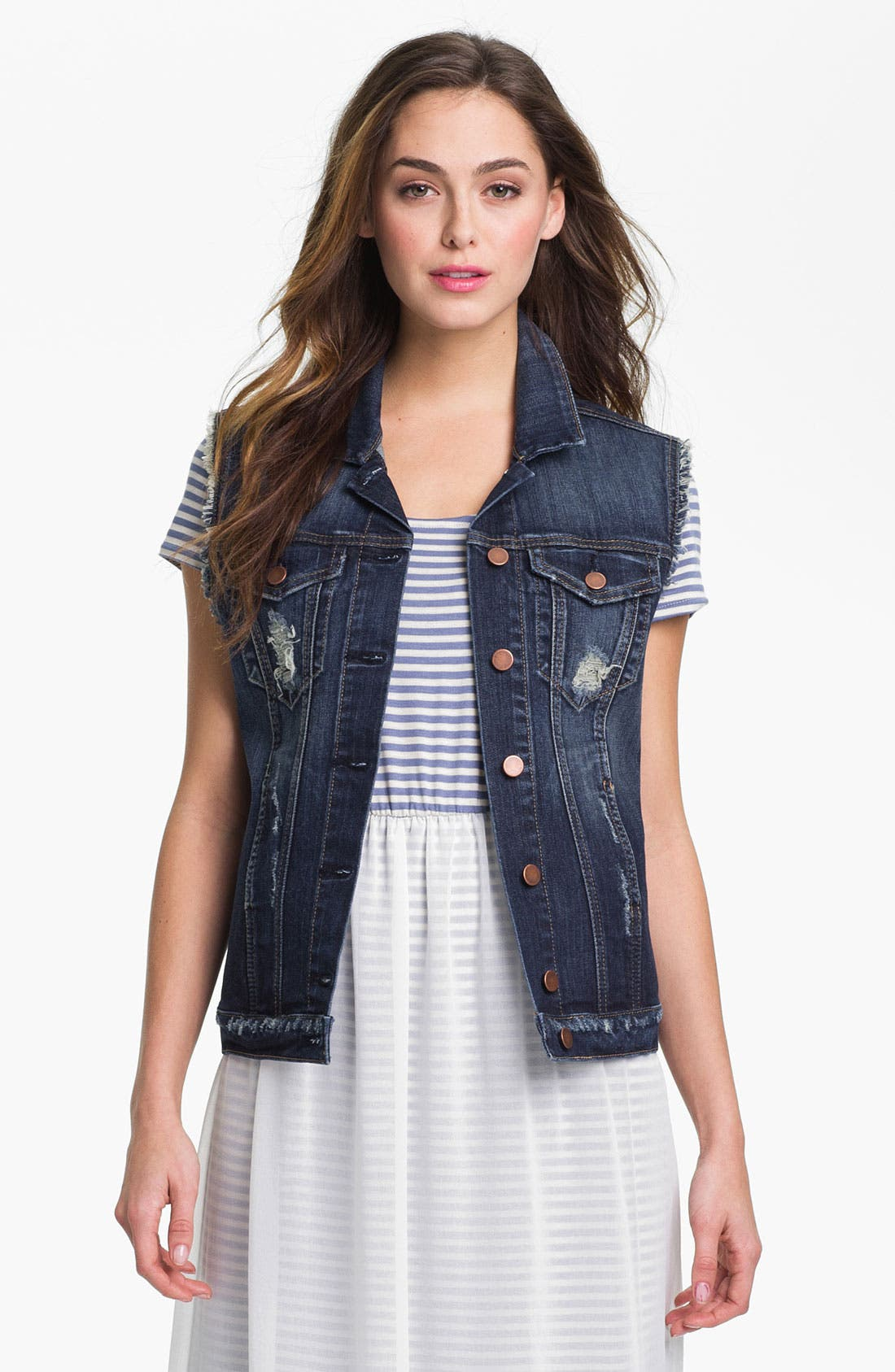 Alternate Image 1 Selected - KUT from the Kloth Distressed Denim Vest