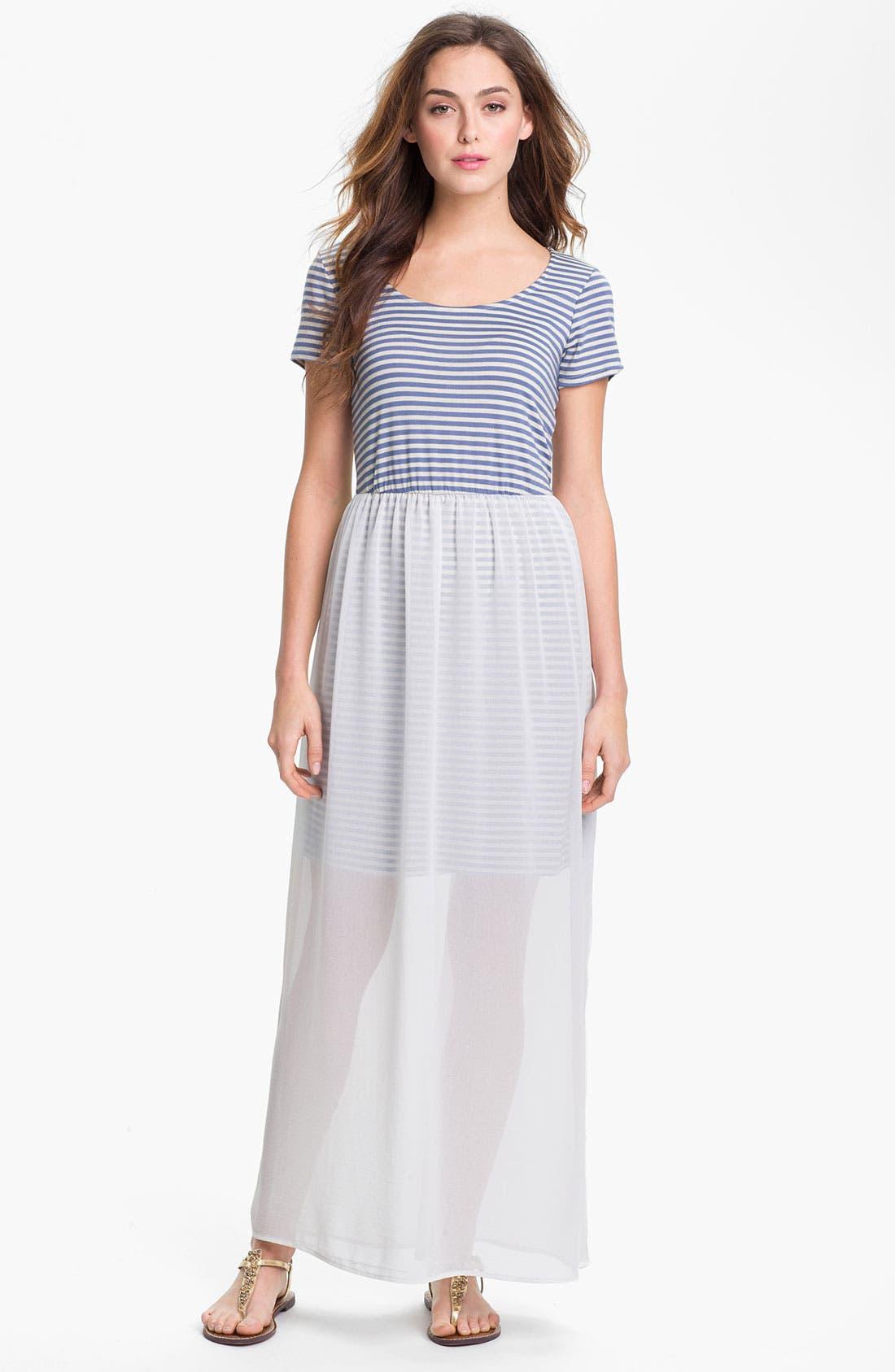 Main Image - MOD.lusive Chiffon Overlay Maxi Dress