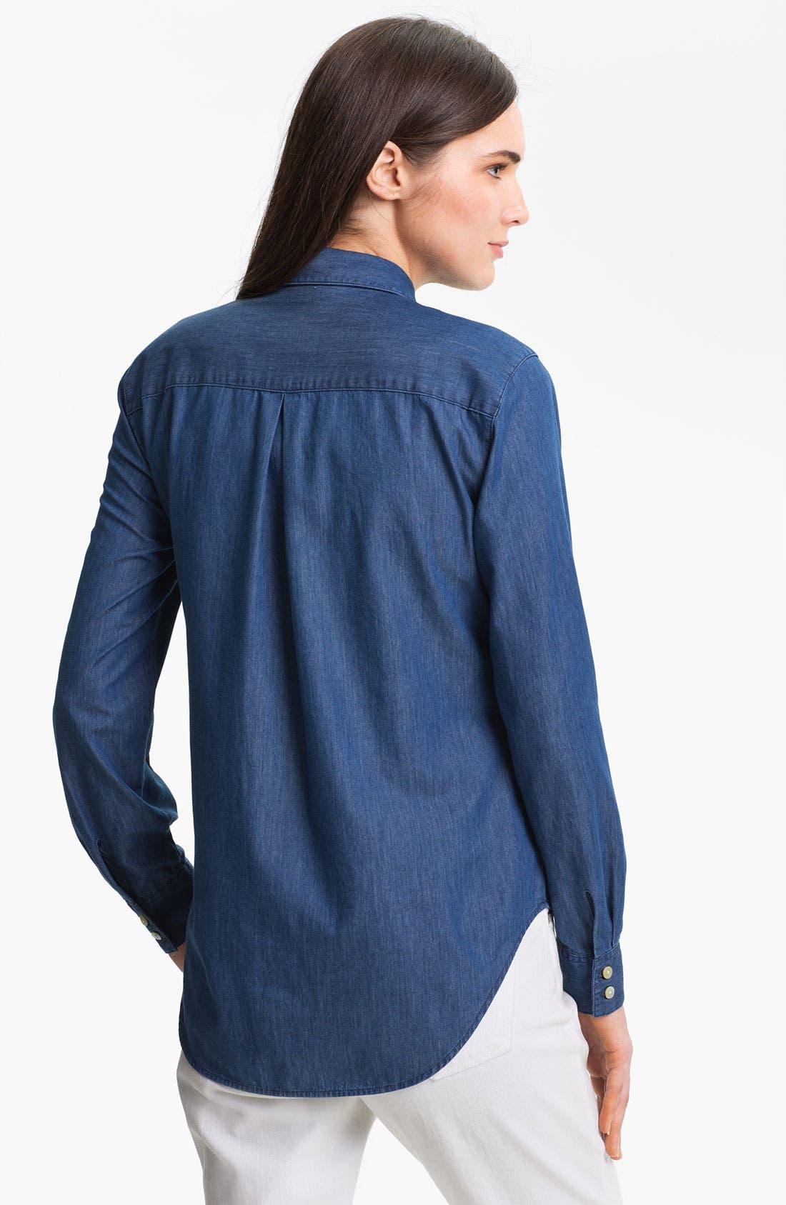 Alternate Image 2  - Foxcroft Two Pocket Denim Shirt