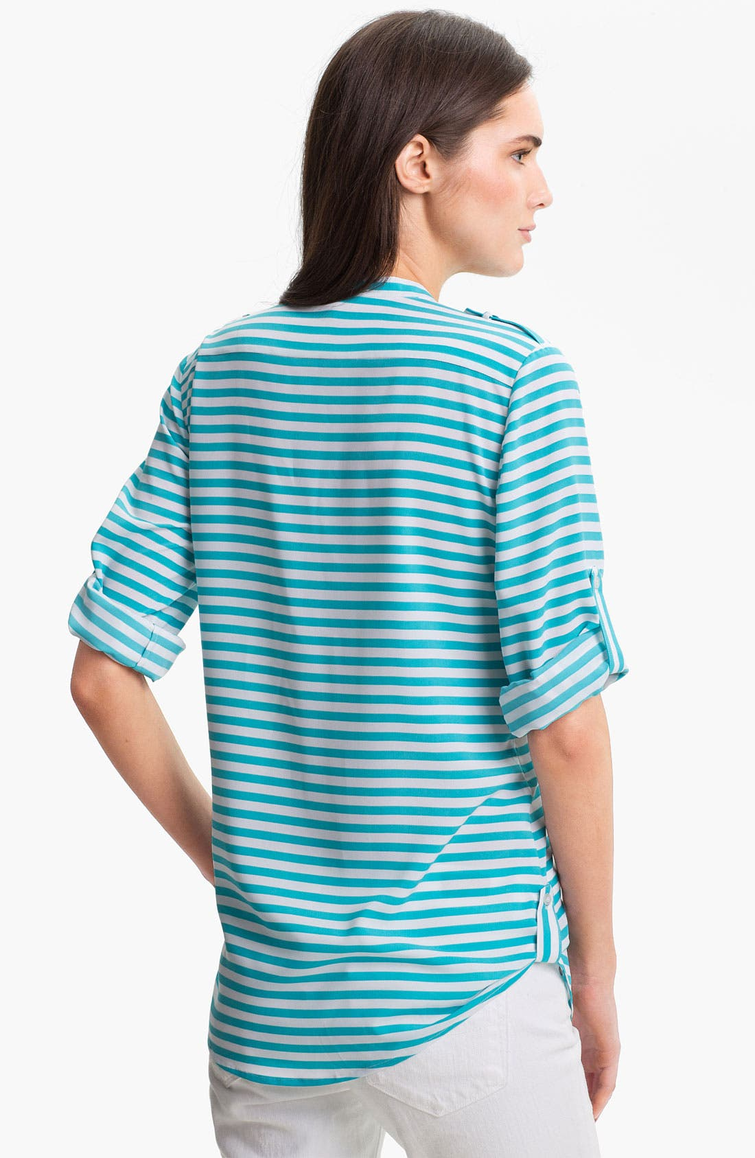 Alternate Image 2  - Calvin Klein Crewneck Roll Sleeve Blouse