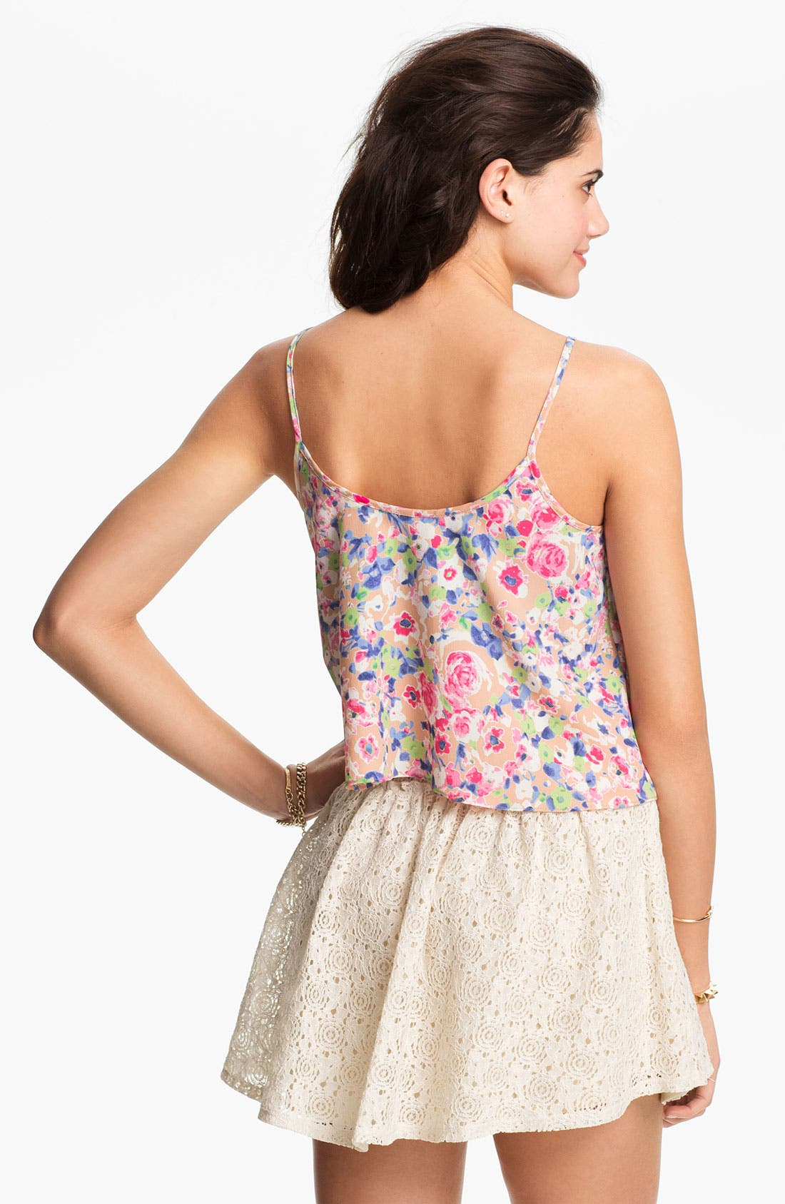 Alternate Image 2  - Soprano Crop Floral Camisole (Juniors)
