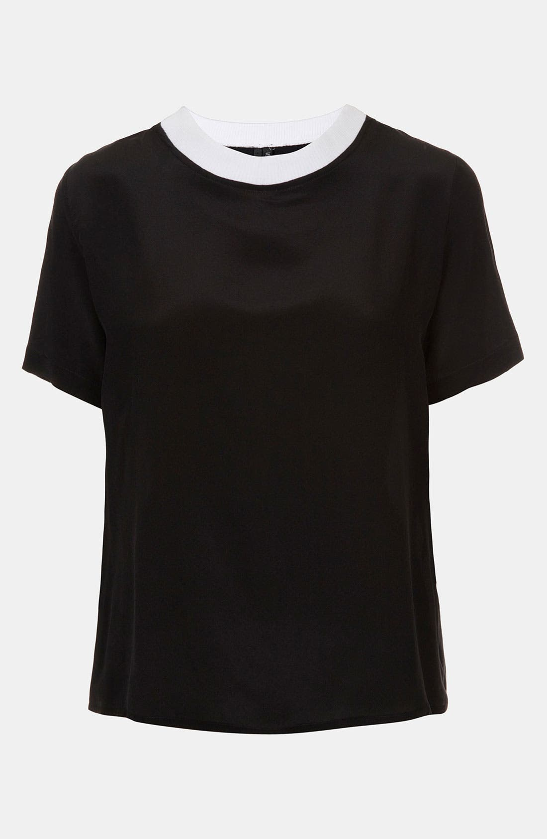 Alternate Image 1 Selected - Topshop Contrast Neck Silk Tee