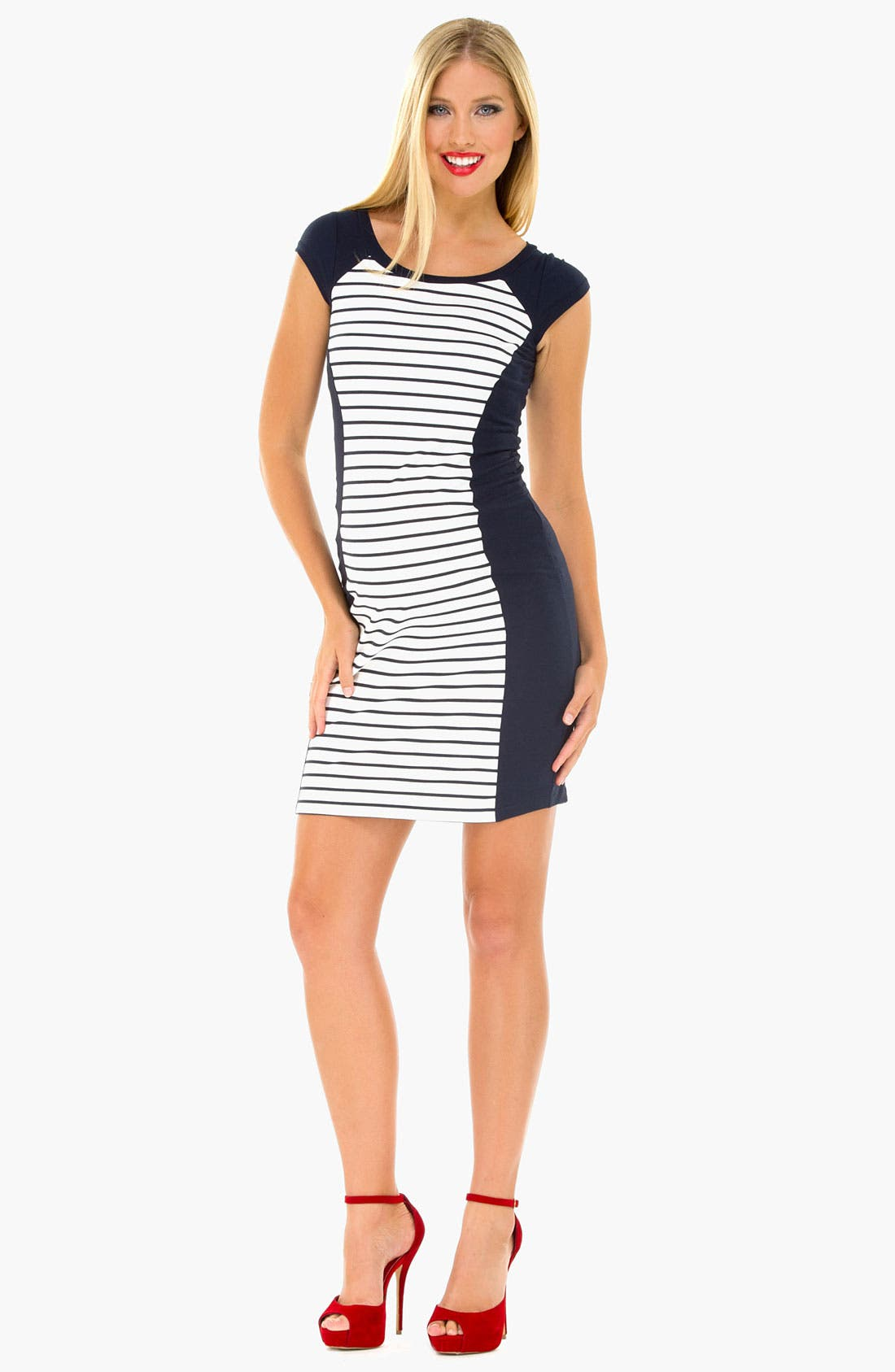 Alternate Image 1 Selected - Olian Stripe Maternity Tank Dress