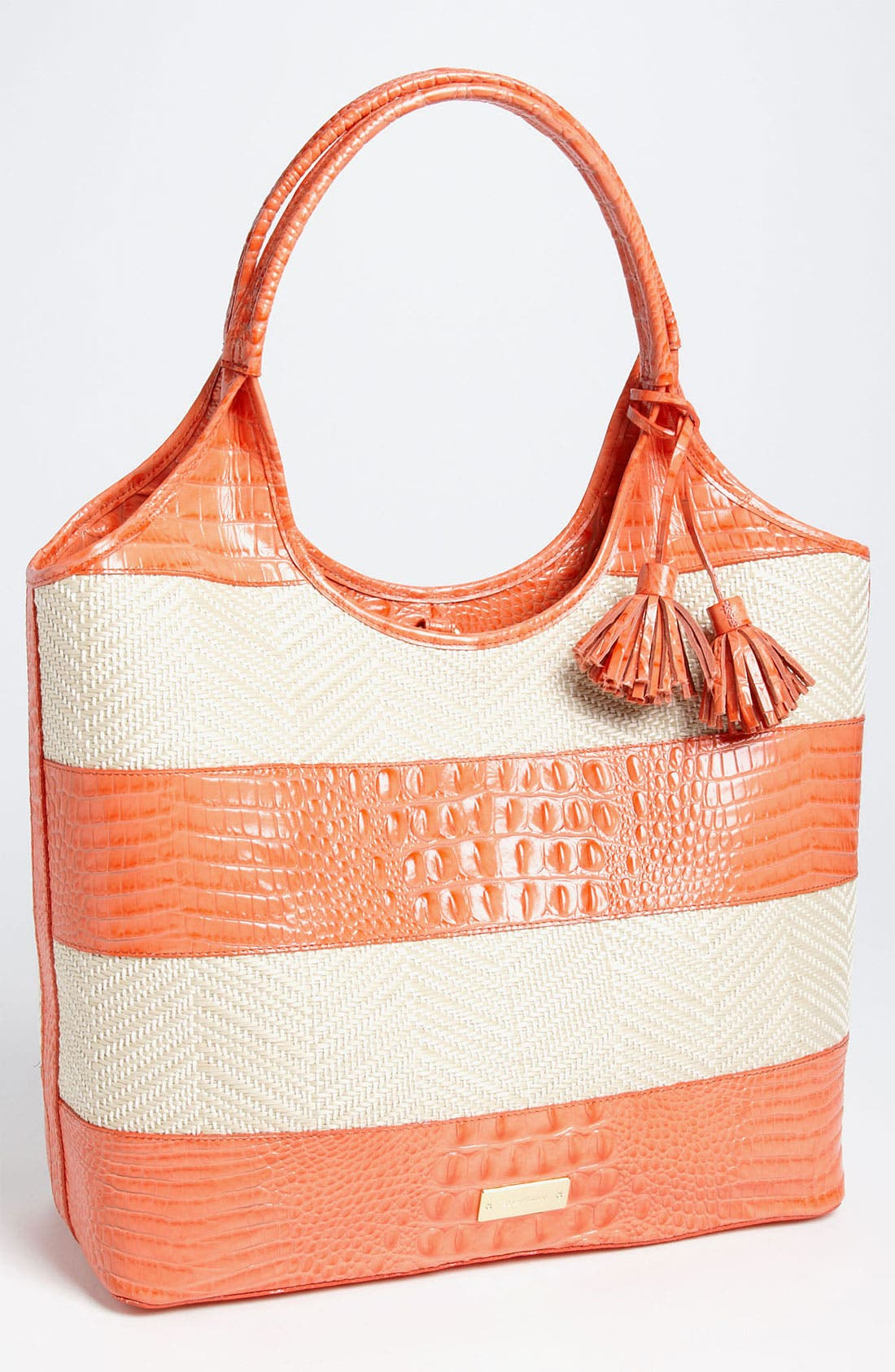 Alternate Image 1 Selected - Brahmin 'Vineyard' Leather & Raffia Shopper
