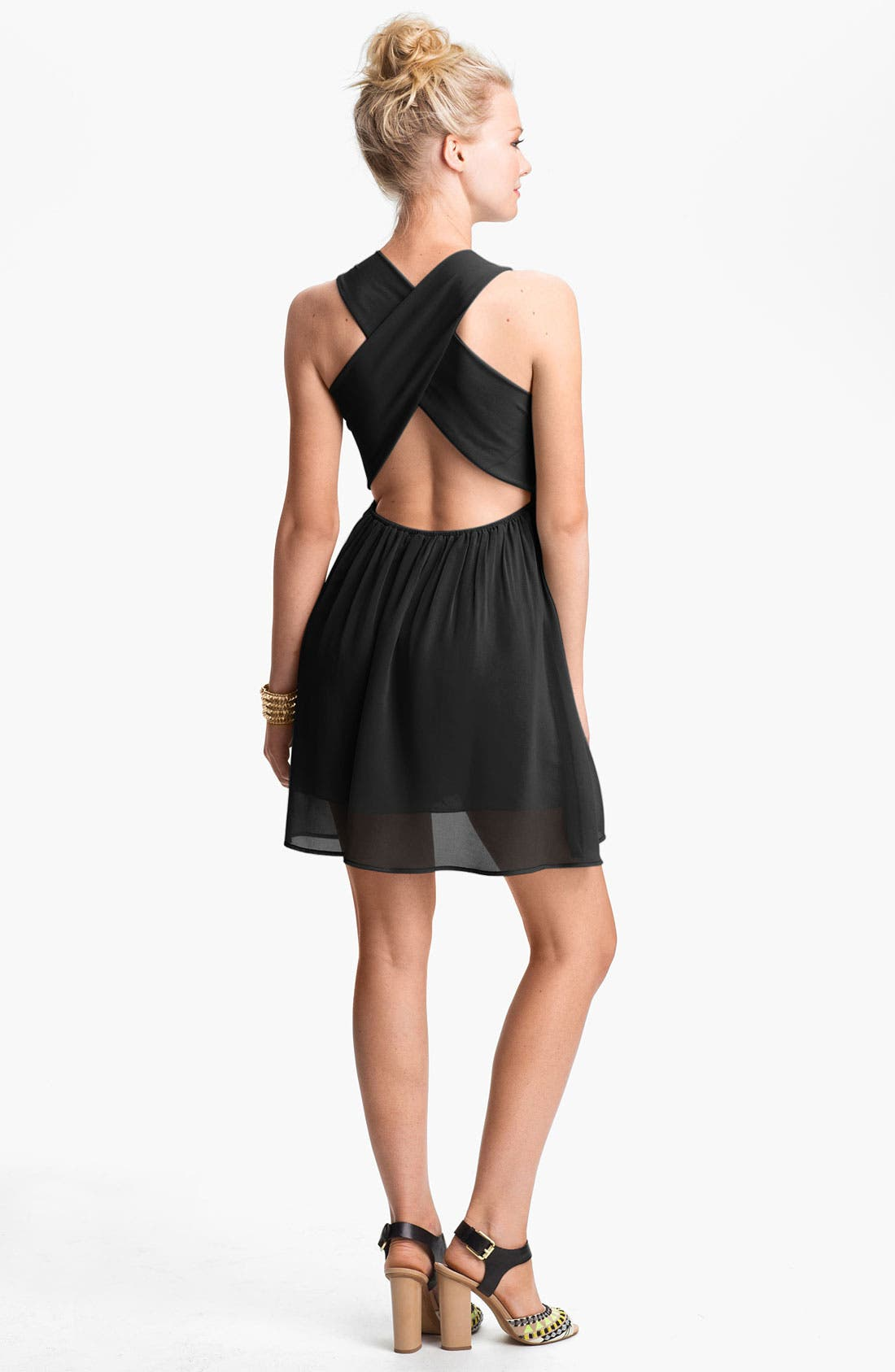 Main Image - dee elle Cross Back Skater Dress (Juniors)