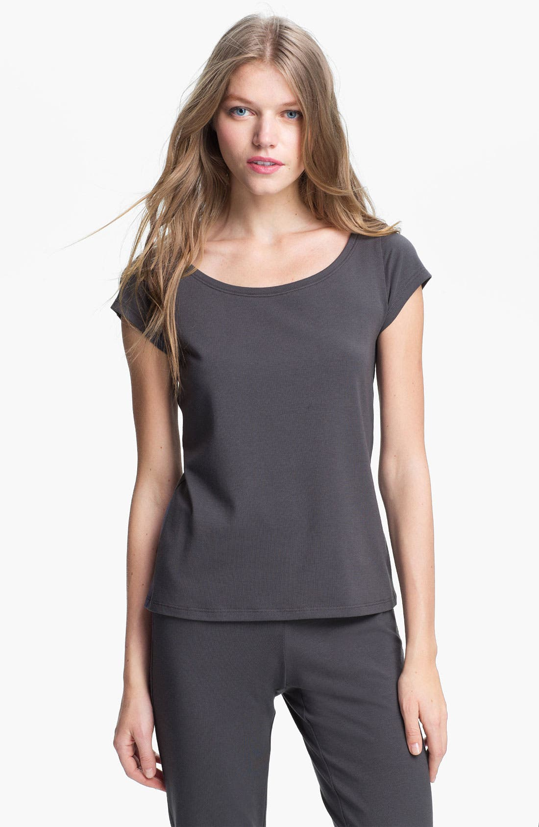 Alternate Image 1 Selected - Eileen Fisher Scoop Neck Cap Sleeve Tee