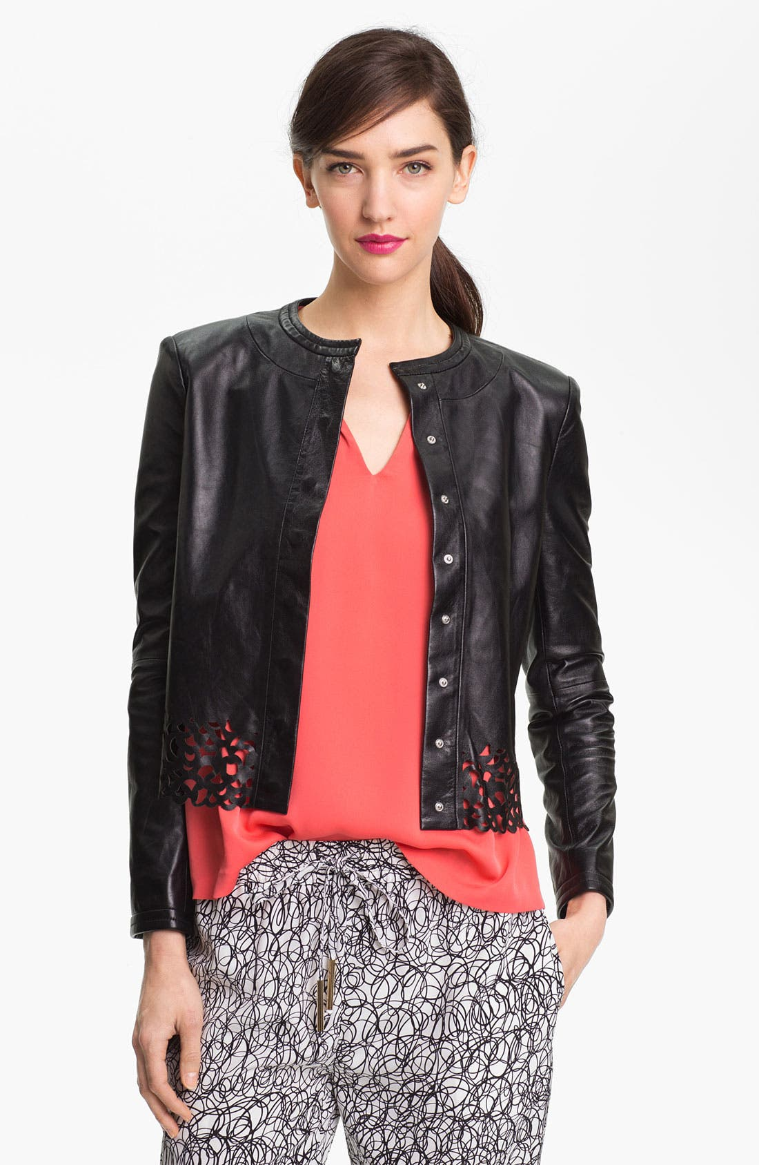 Alternate Image 1 Selected - Diane von Furstenberg 'Merryl' Crop Leather Jacket