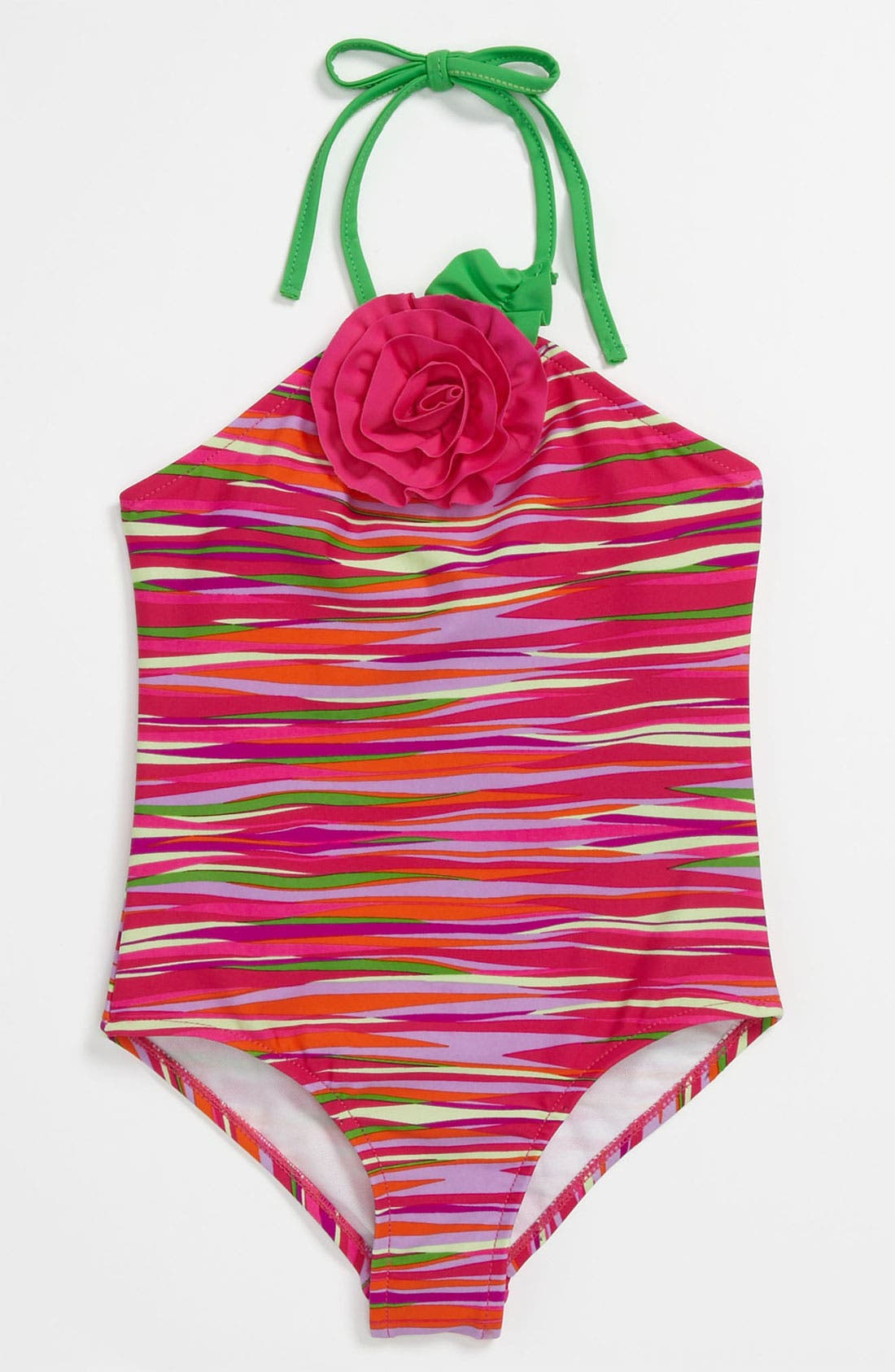 Main Image - Love U Lots Stripe Swimsuit (Little Girls)