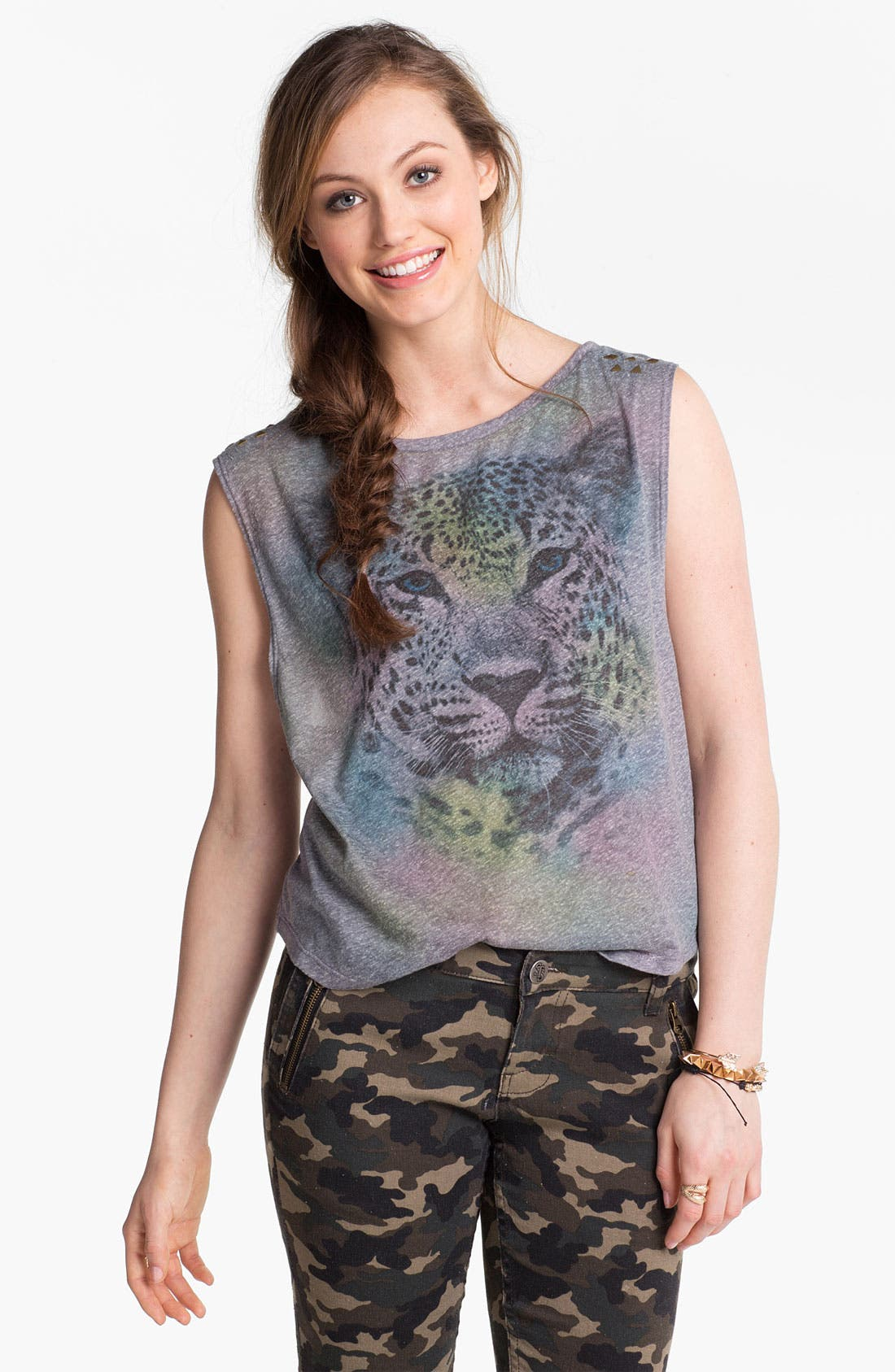 Alternate Image 1 Selected - Lush Studded Cheetah Graphic Muscle Tee (Juniors)