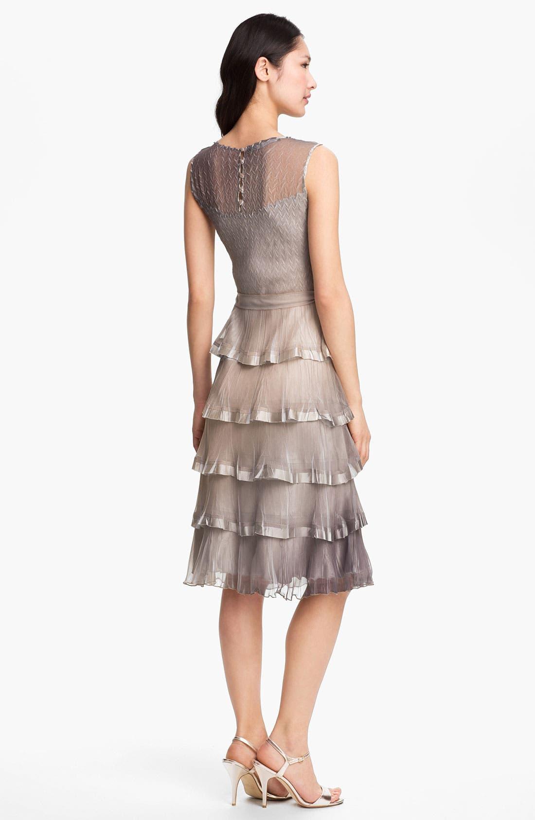 Alternate Image 2  - Black by Komarov Embellished Tiered Ombré Chiffon Dress