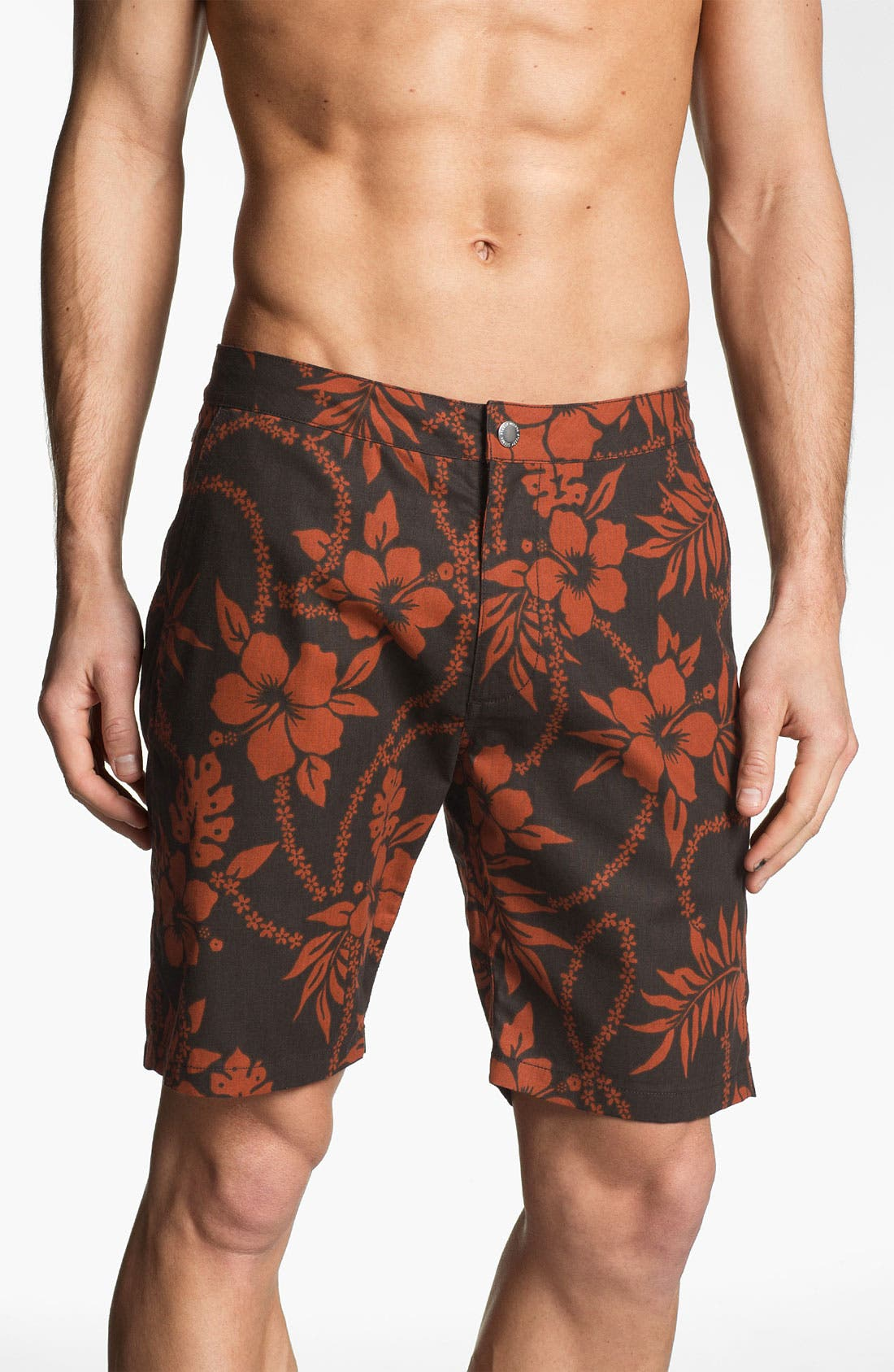 Main Image - Stussy Deluxe Floral Print Hybrid Board Shorts