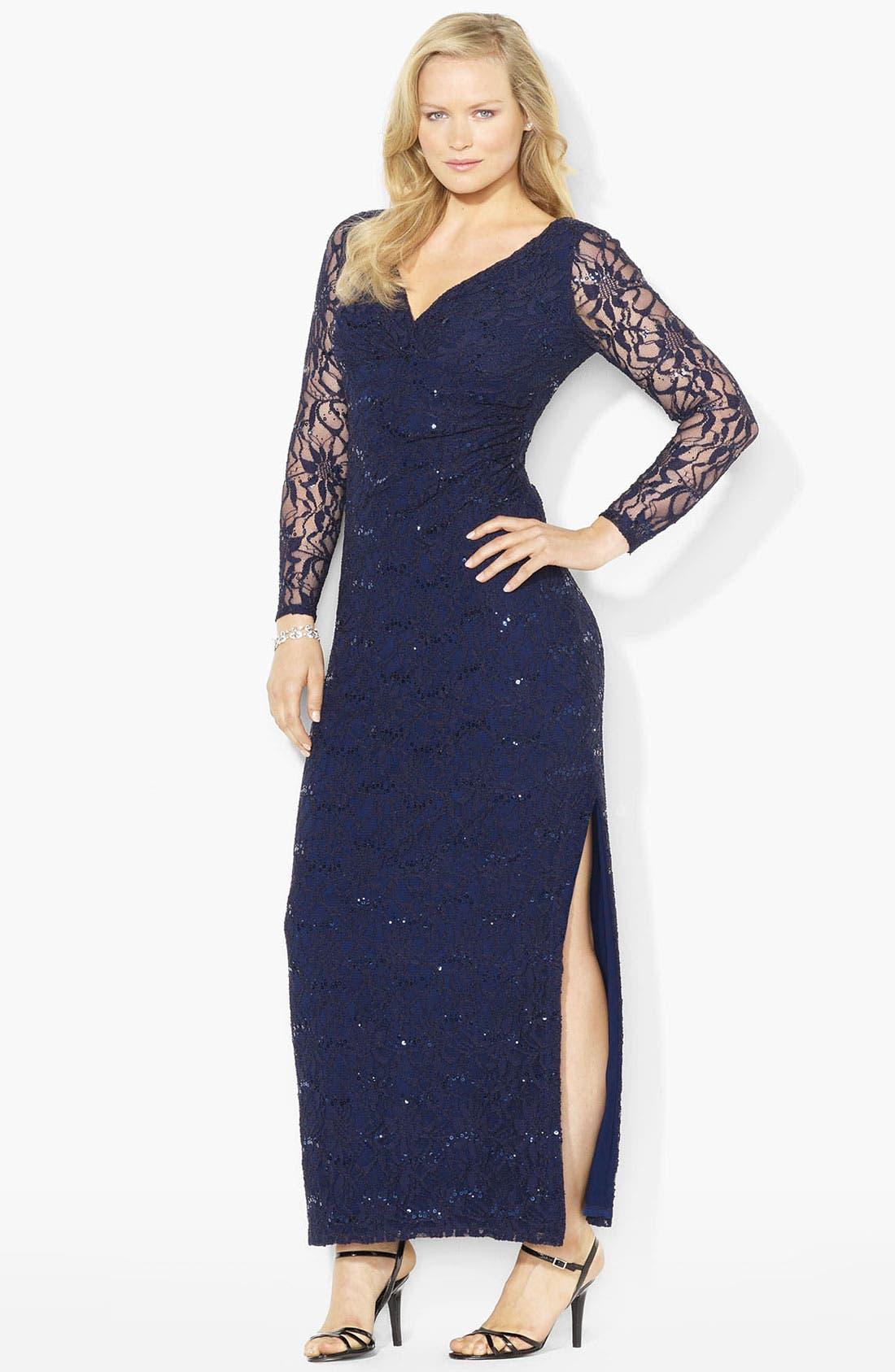 Main Image - Lauren Ralph Lauren Sequin Lace Gown (Plus)
