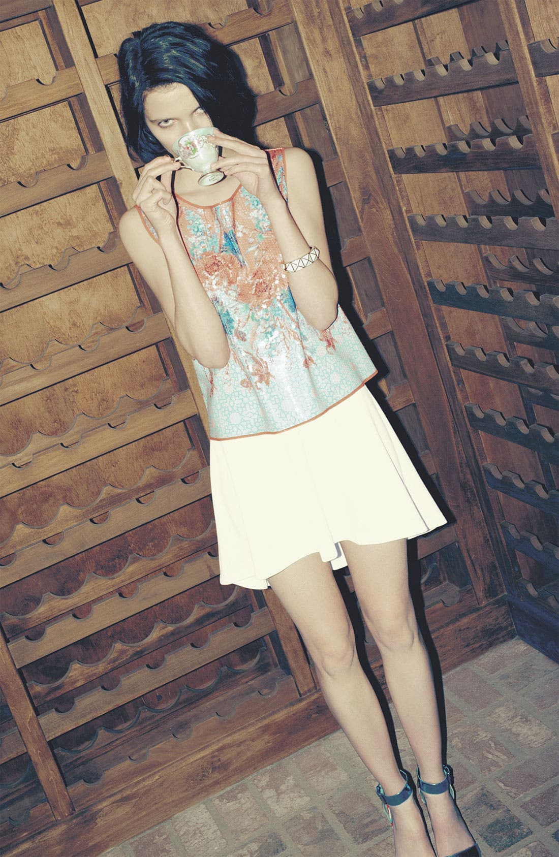 Alternate Image 4  - Dream Daily 'Vermilion Flowers' Sequin Crop Top