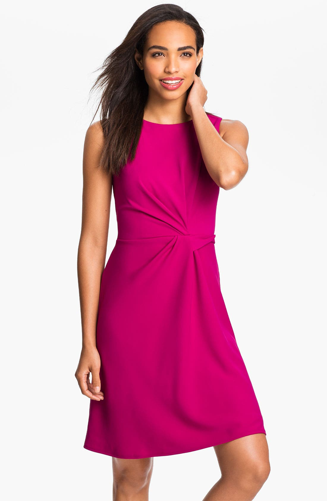 Alternate Image 1 Selected - Donna Ricco Sleeveless Side Tie Dress (Petite)