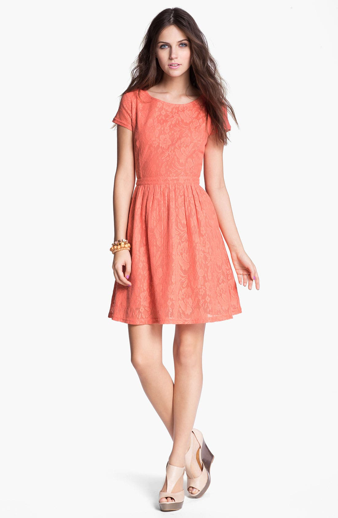 Main Image - Frenchi Cutout Back Lace Dress (Juniors)