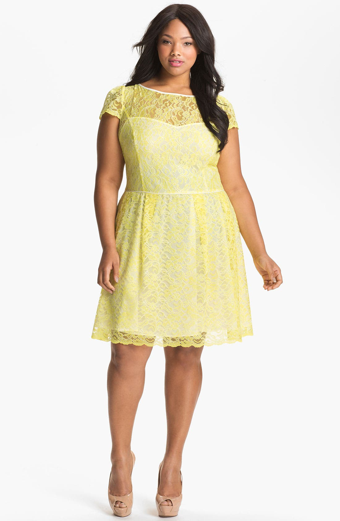 Main Image - A.B.S. by Allen Schwartz Lace Fit & Flare Dress (Plus Size) (Online Only)