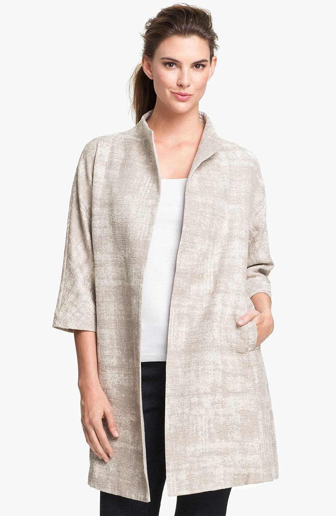 Alternate Image 1 Selected - Eileen Fisher Illusion Jacquard Coat