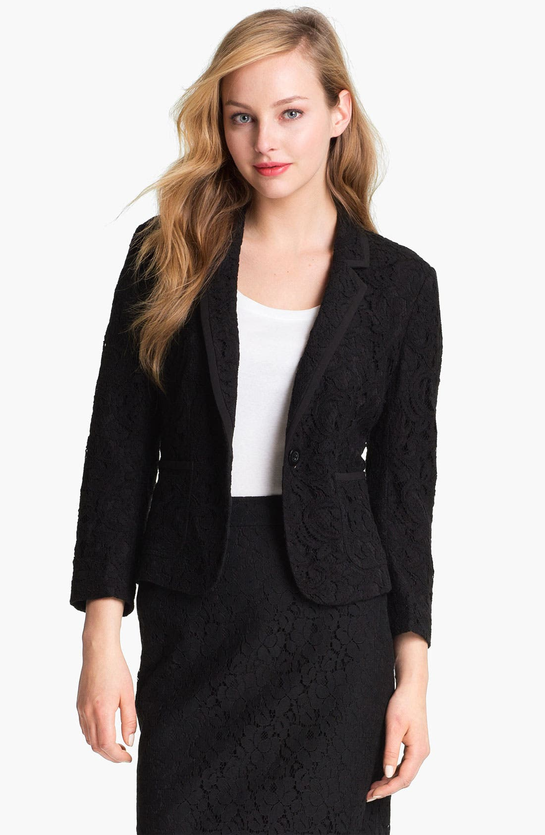 Alternate Image 1 Selected - Halogen® Lace One Button Blazer