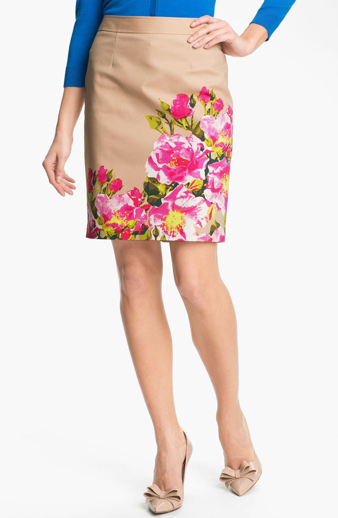 Main Image - Halogen® Print Stretch Cotton Blend Skirt