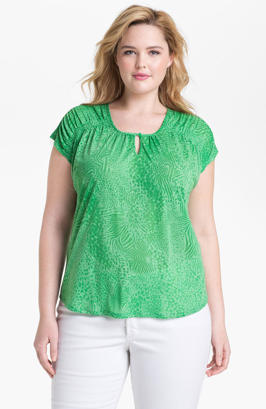 Alternate Image 1 Selected - Sejour Print Jersey Tee (Plus Size)