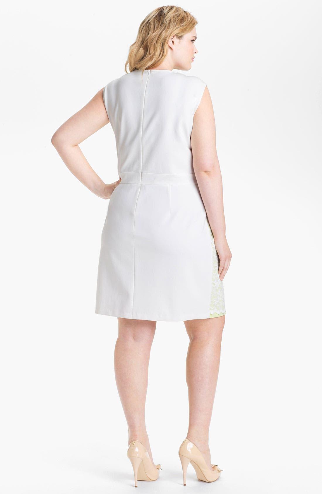 Alternate Image 2  - ABS by Allen Schwartz Lace Front Sheath Dress (Plus Size)