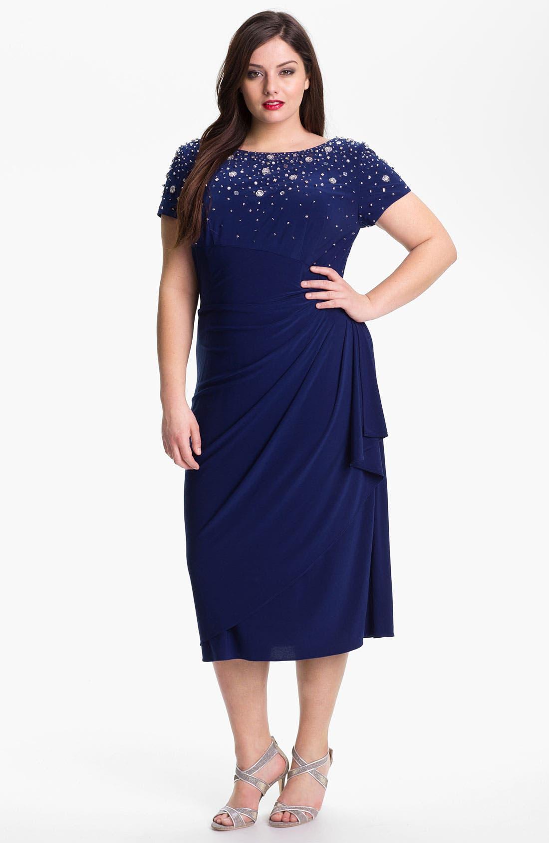 Main Image - Alex Evenings Embellished Faux Wrap Jersey Dress