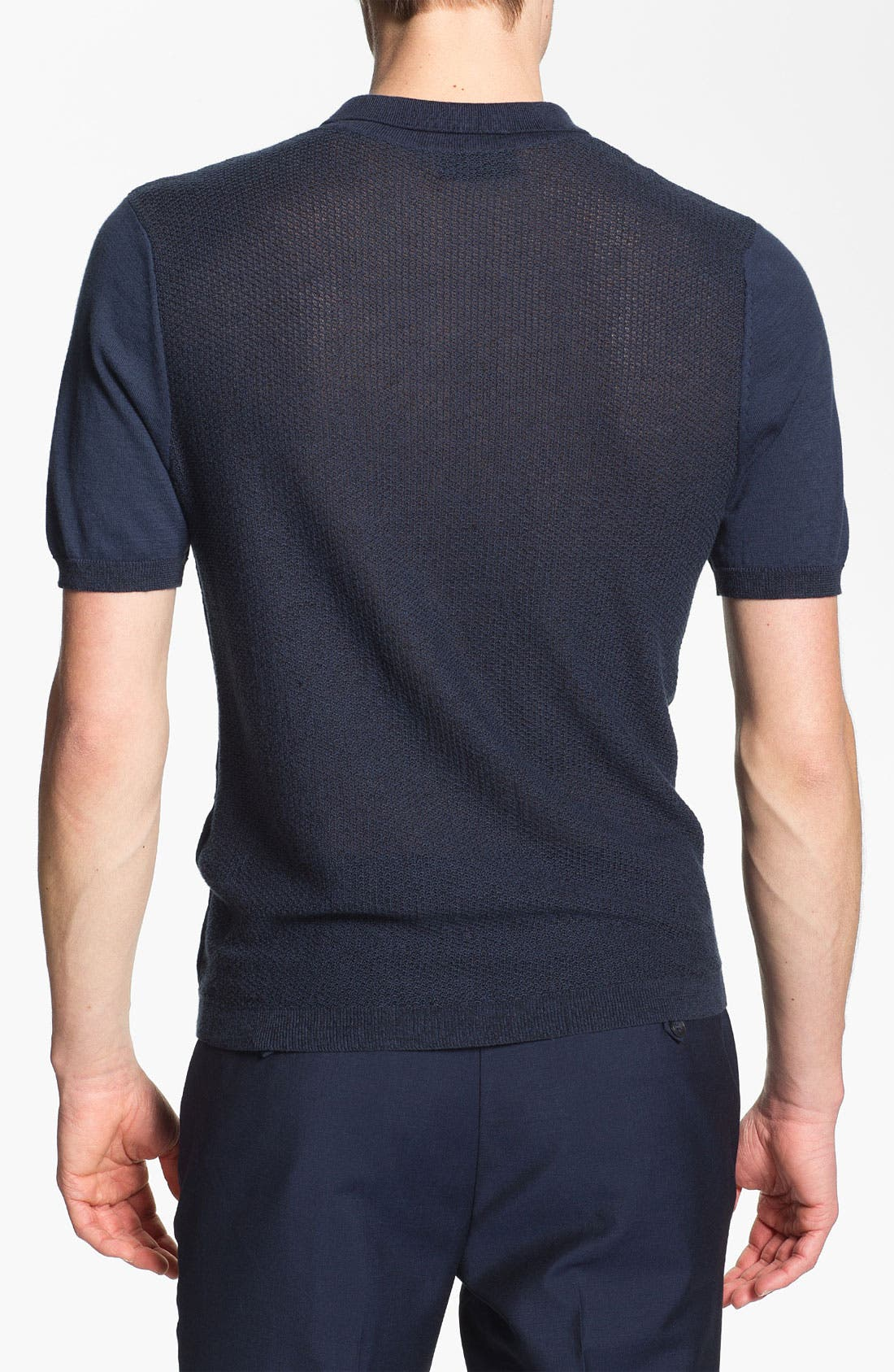 Alternate Image 2  - Topman 'Lux Collection' Mesh Knit Cotton Polo