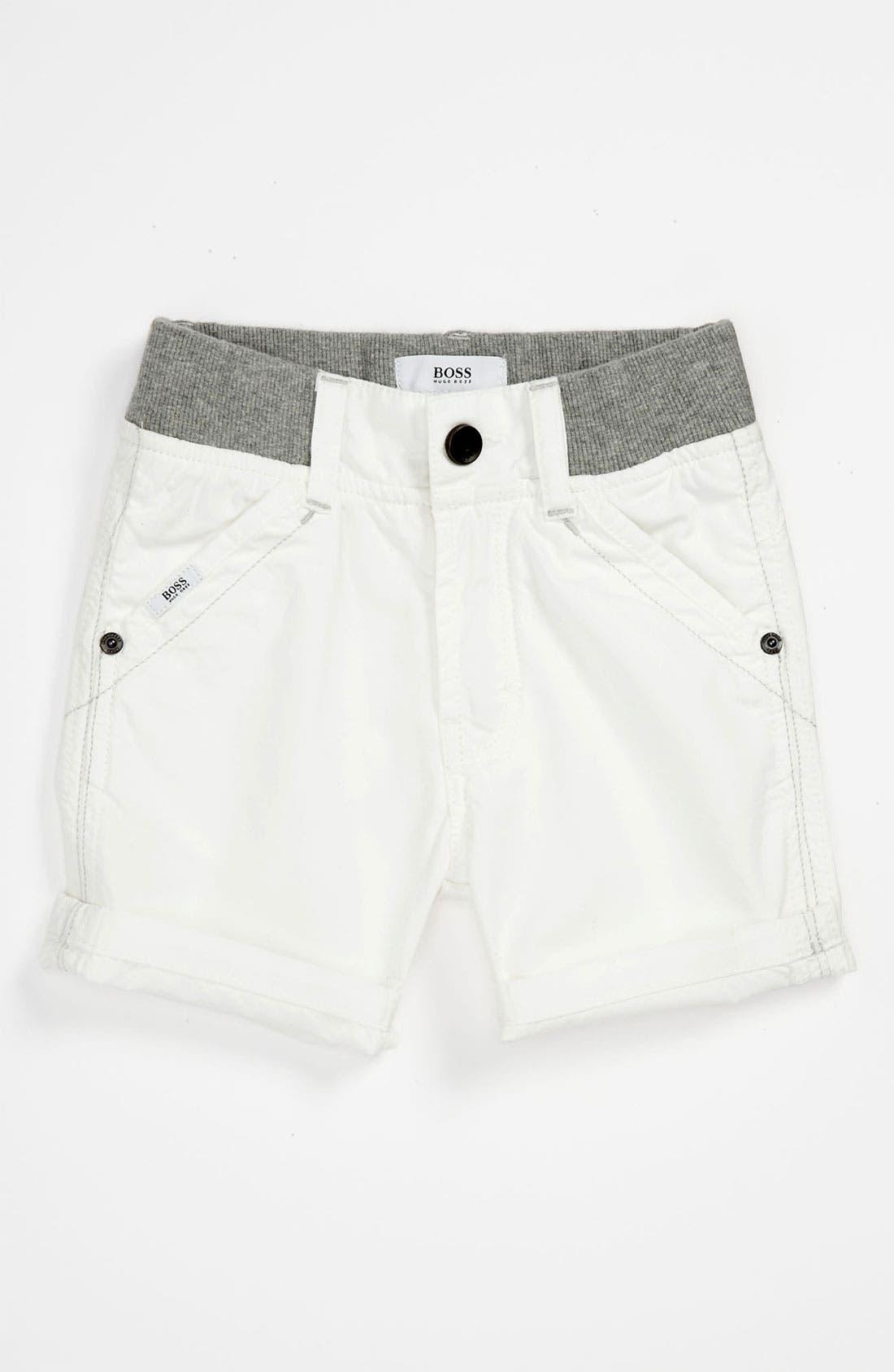 Alternate Image 1 Selected - BOSS Kidswear Cotton Poplin Bermuda Shorts (Baby)