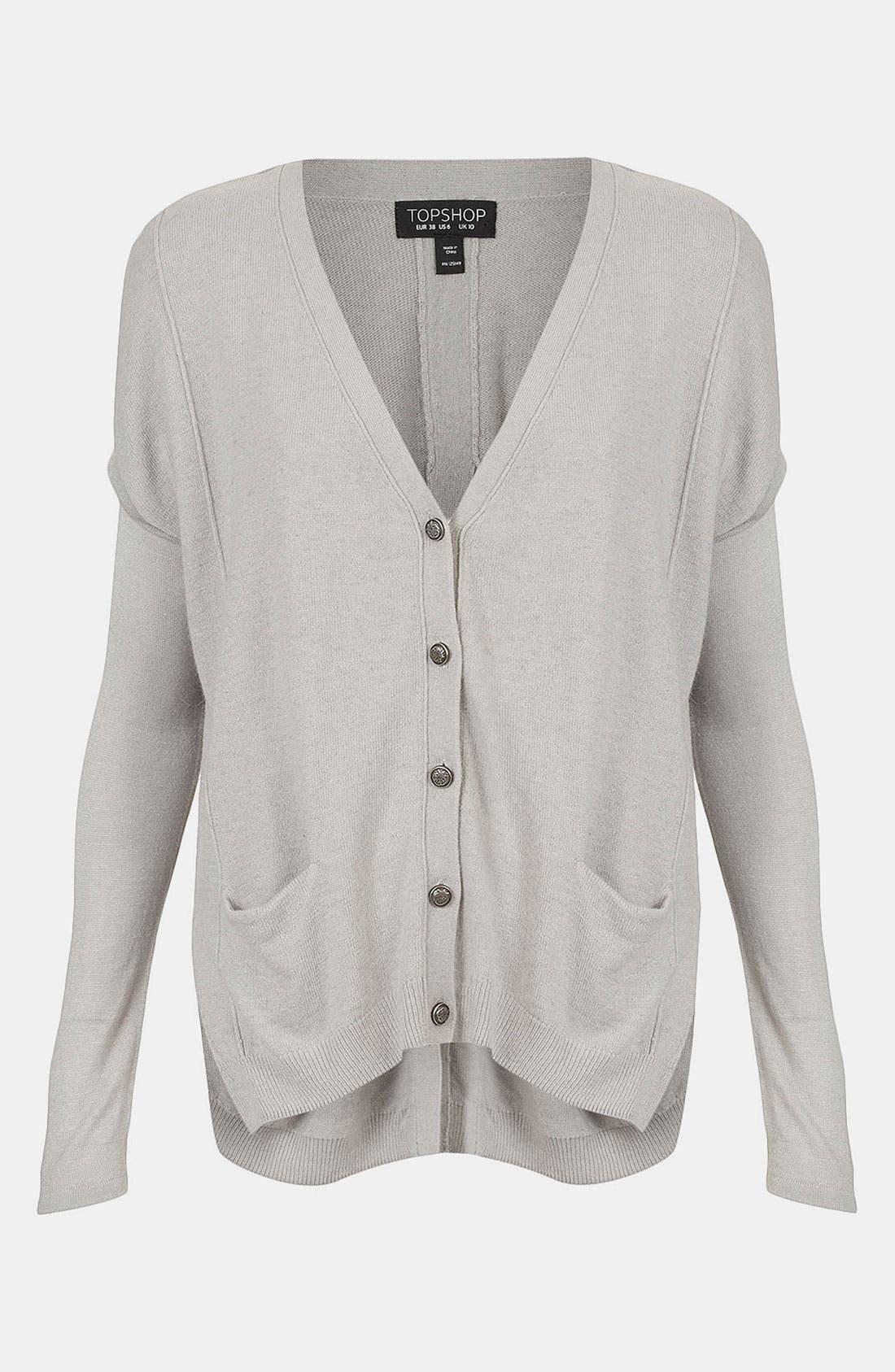Main Image - Topshop Sheer Sleeve Envelope Back Cardigan