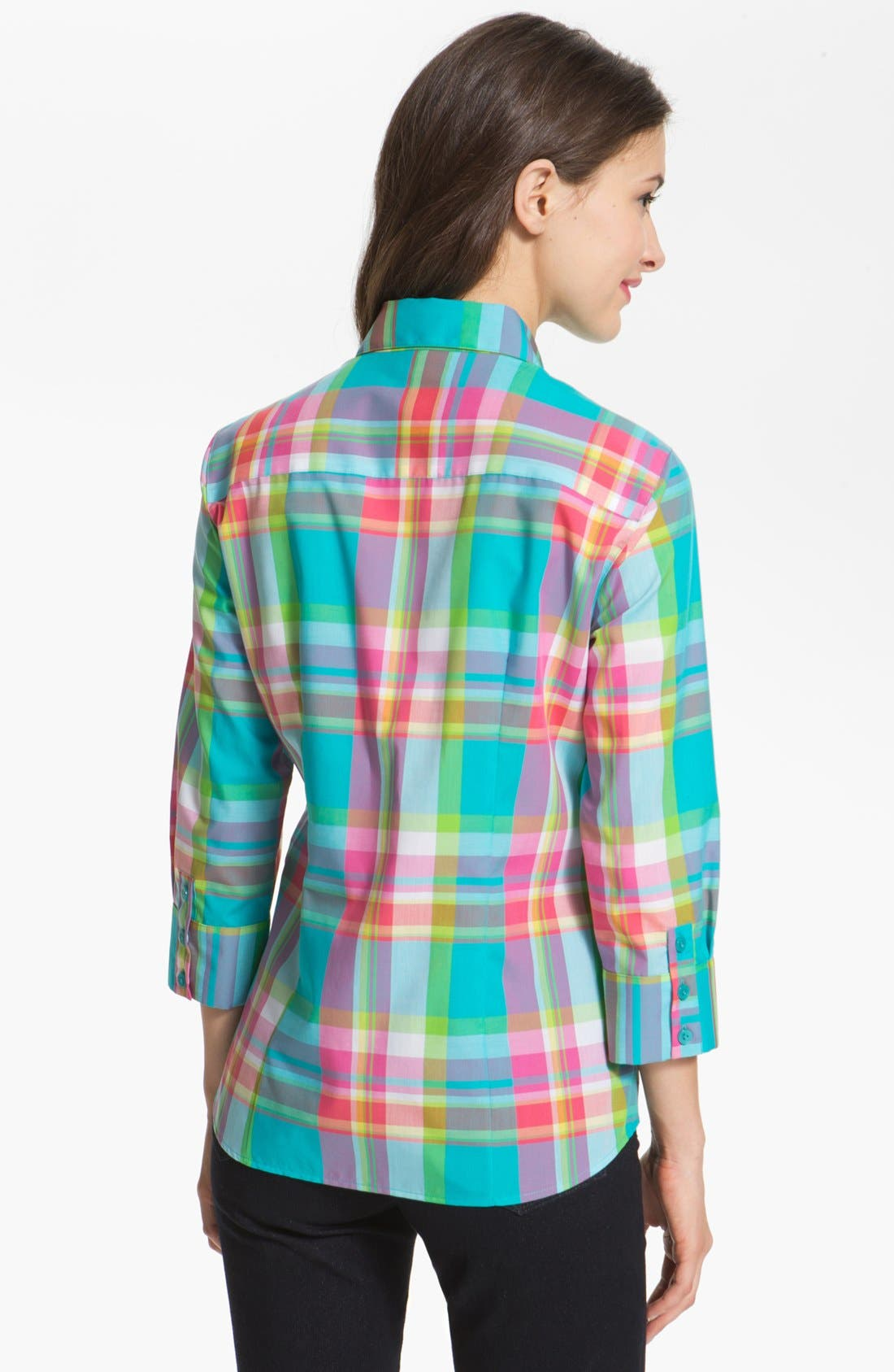 Alternate Image 2  - Foxcroft Three Quarter Sleeve Plaid Shirt (Petite)