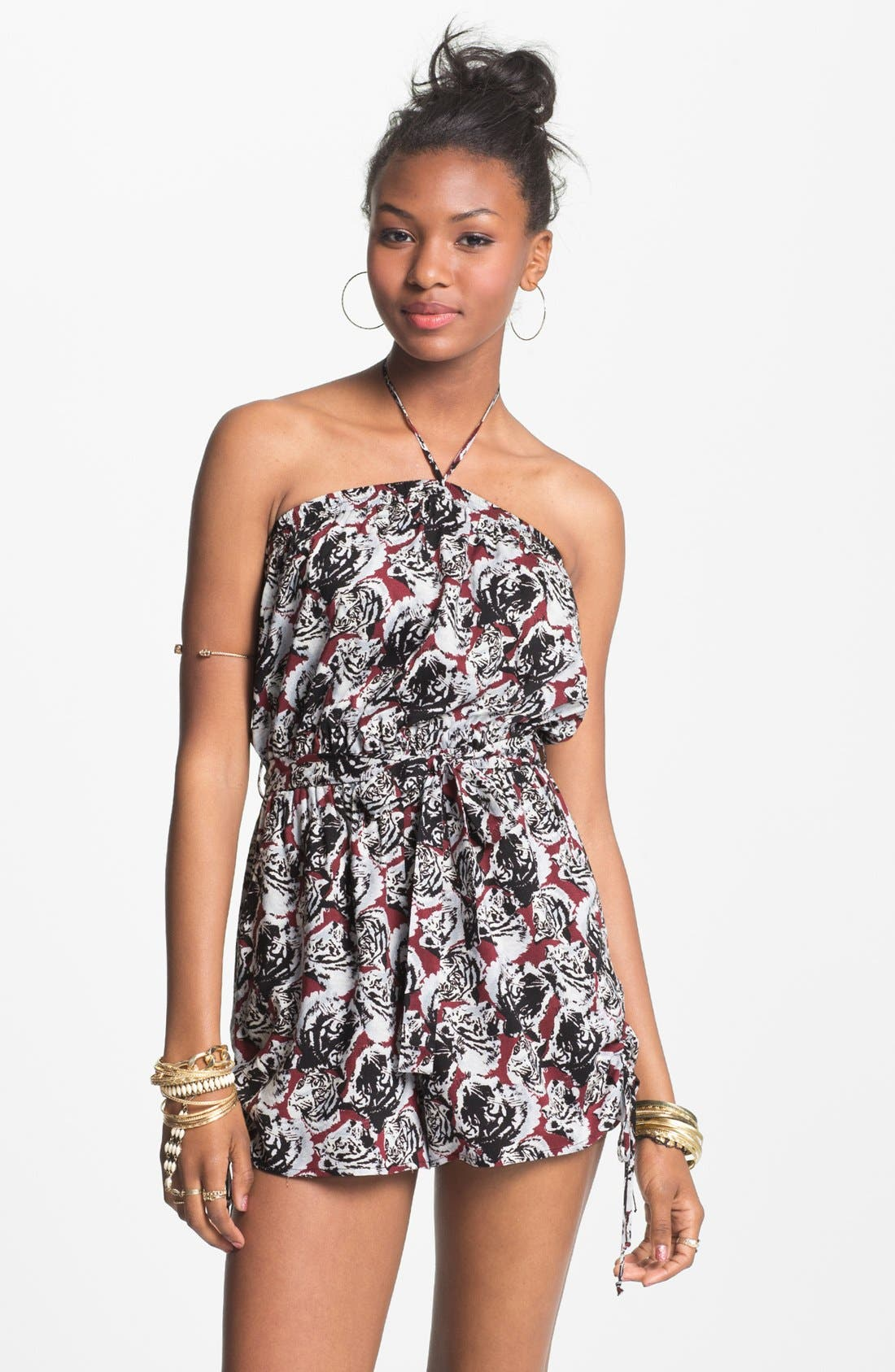 Alternate Image 3  - Fire Ruffle Front Romper (Juniors) (Online Only)
