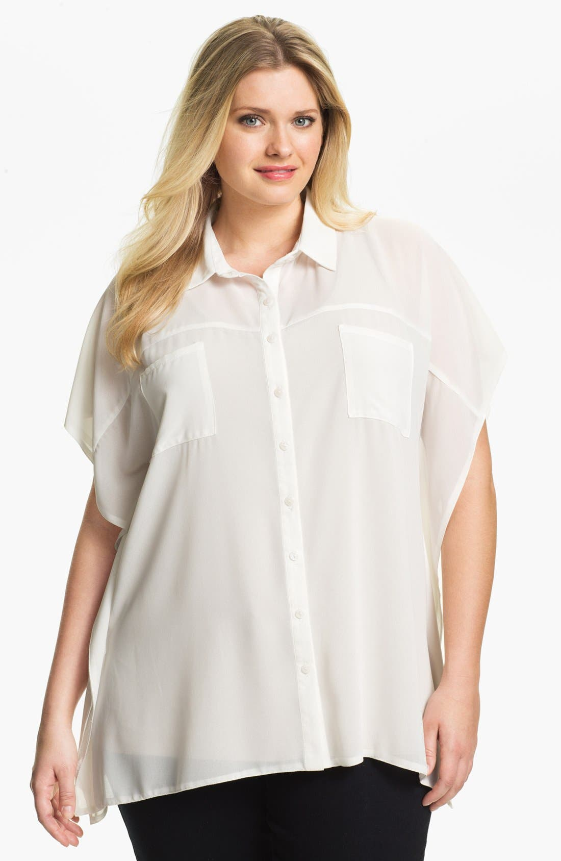 Alternate Image 1 Selected - Evans Button Down Tunic (Plus Size)