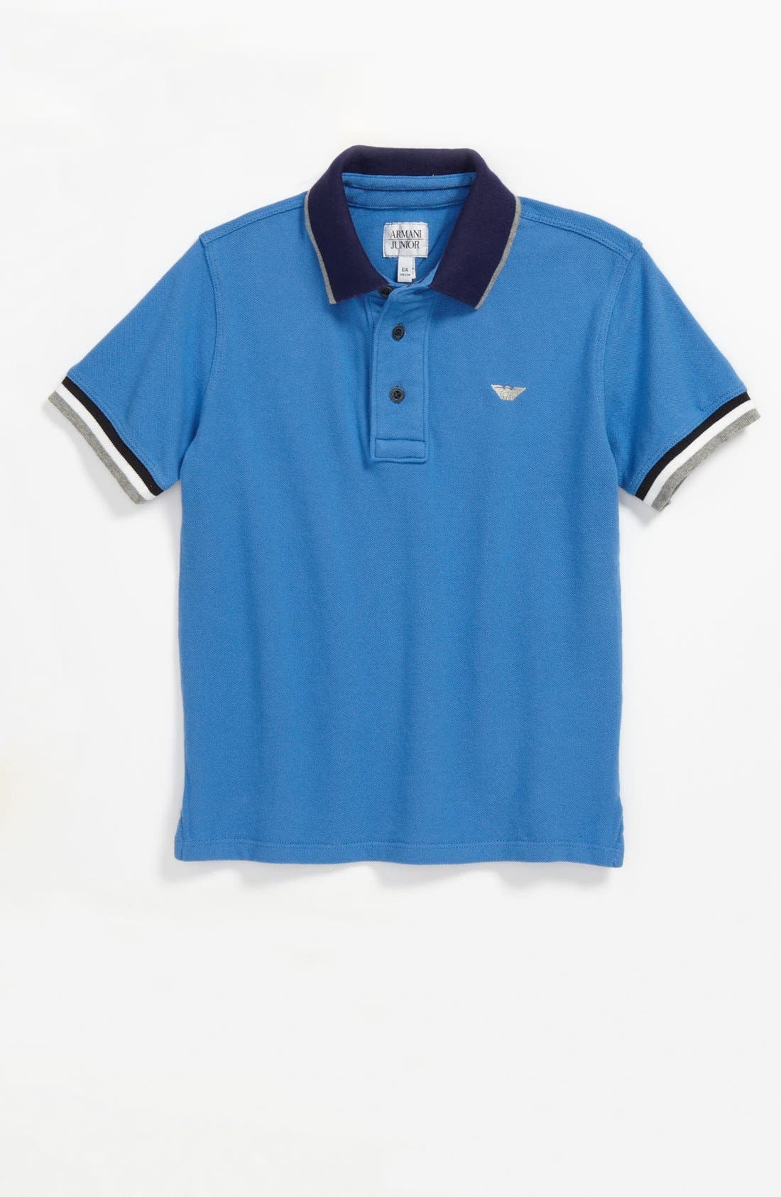 Main Image - Armani Junior Blue Stone Washed Polo (Little Boys)