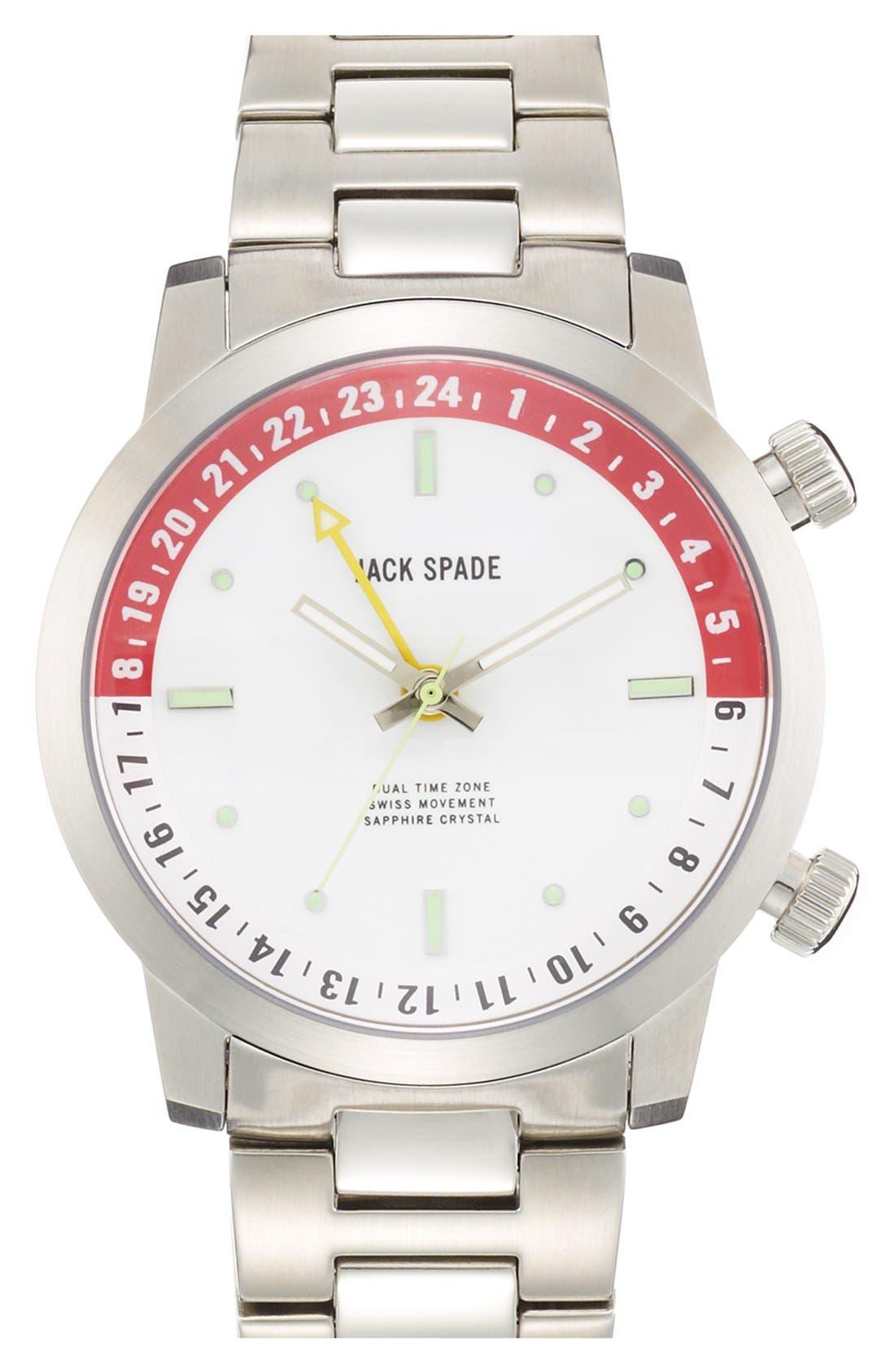 Main Image - Jack Spade 'Cortlandt' Dual Time Bracelet Watch, 43mm