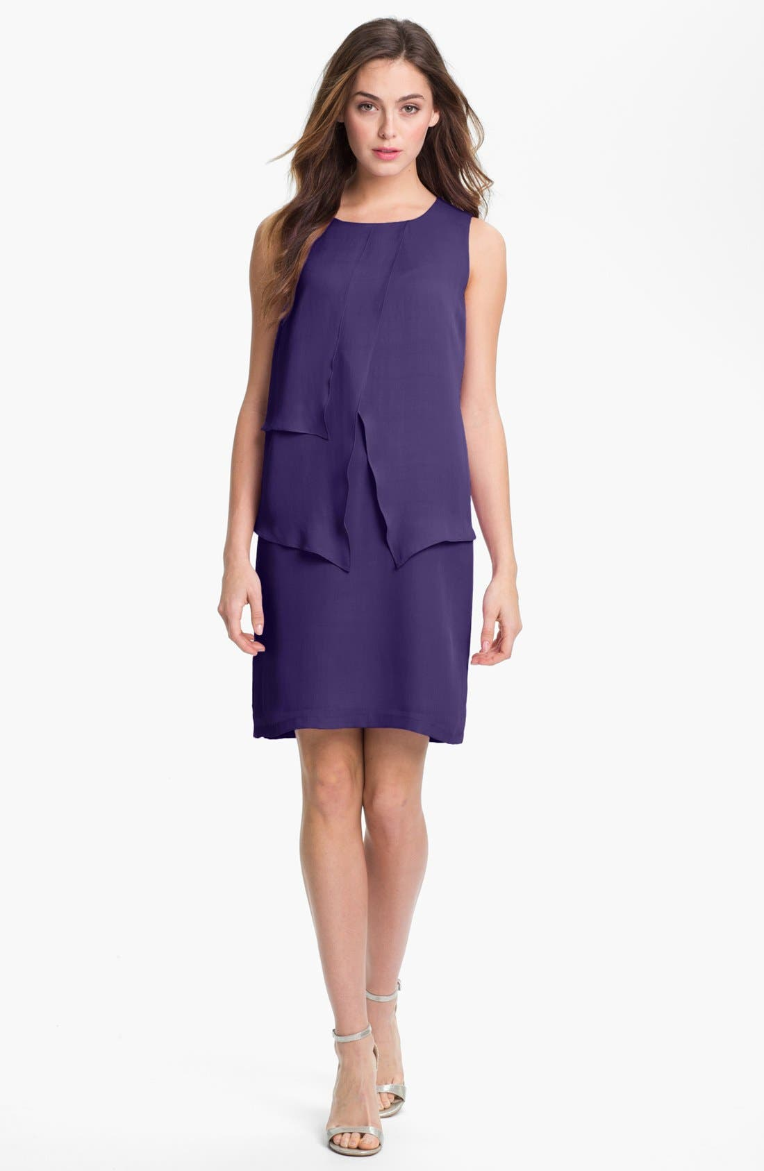 Alternate Image 1 Selected - Suzi Chin for Maggy Boutique Tiered Silk Sheath Dress
