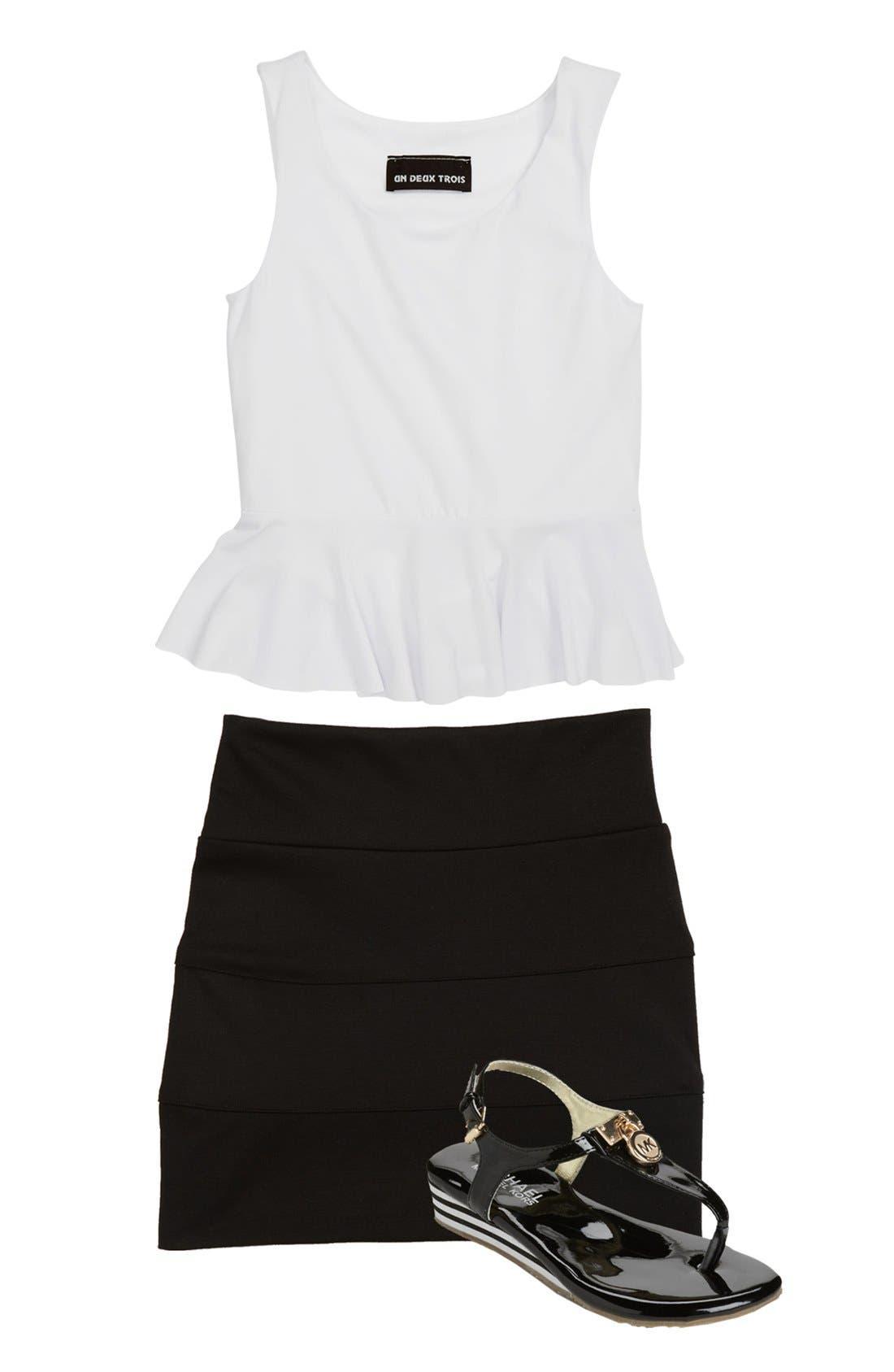 Alternate Image 1 Selected - Un Deux Trois Top & Skirt & MICHAEL Michael Kors Sandal (Big Girls)