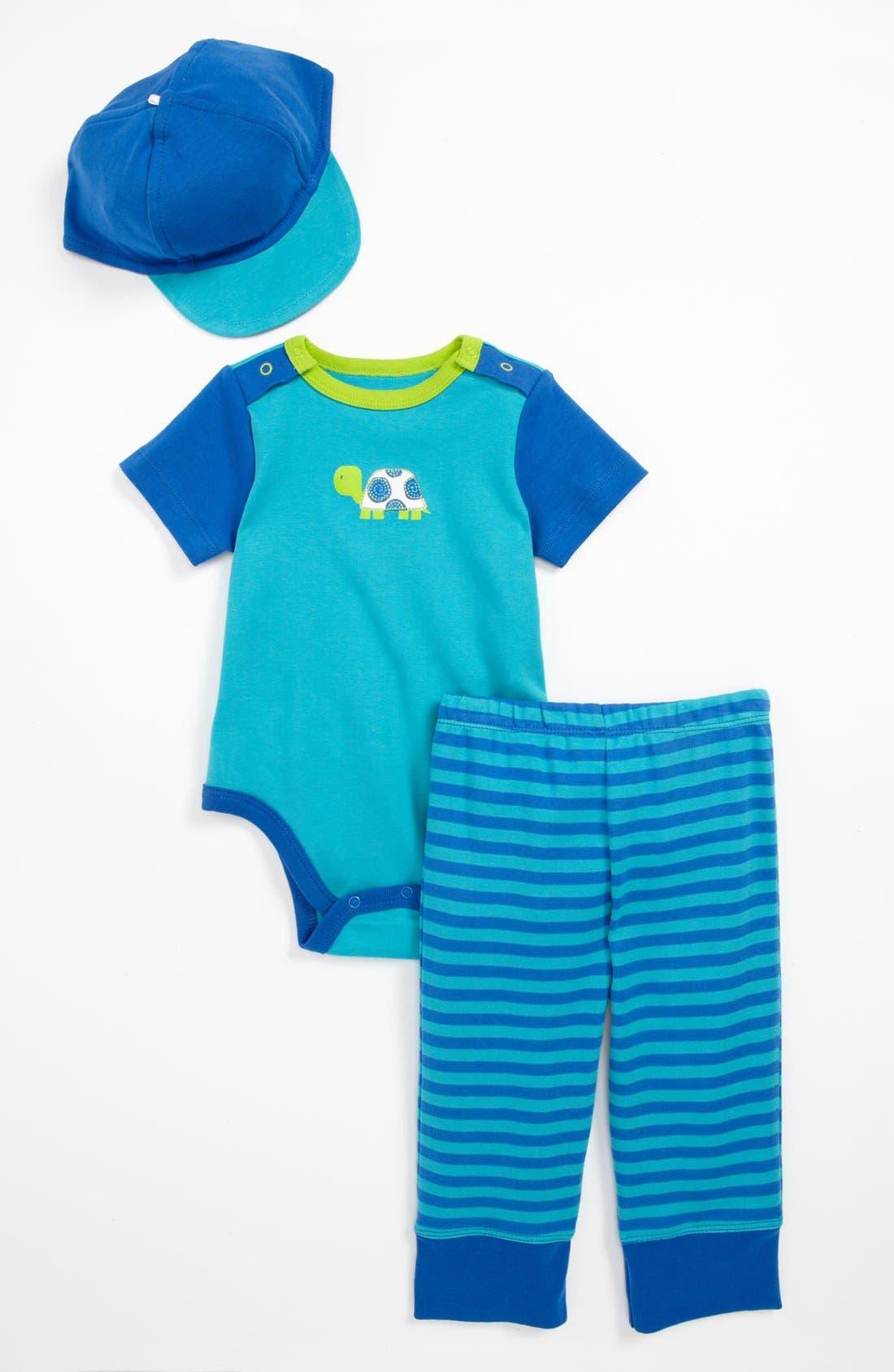 Main Image - Offspring 'Turtle' Bodysuit, Pants & Hat (Baby)