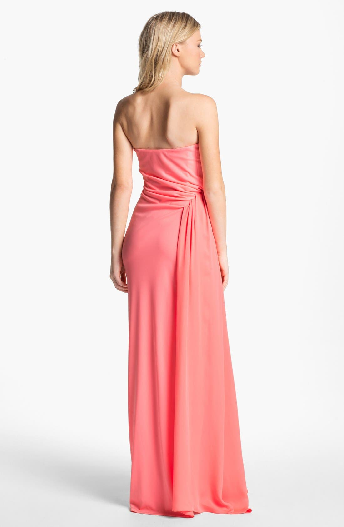 Alternate Image 2  - Halston Heritage Strapless Side Drape Column Dress