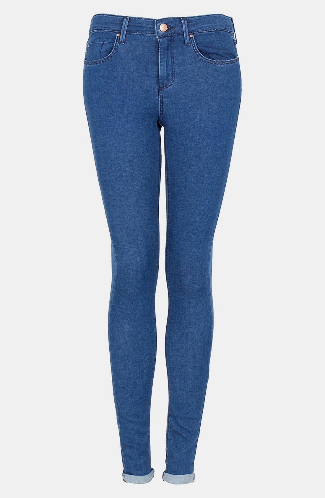 Main Image - Topshop Moto 'Leigh' Skinny Jeans (Blue) (Short)