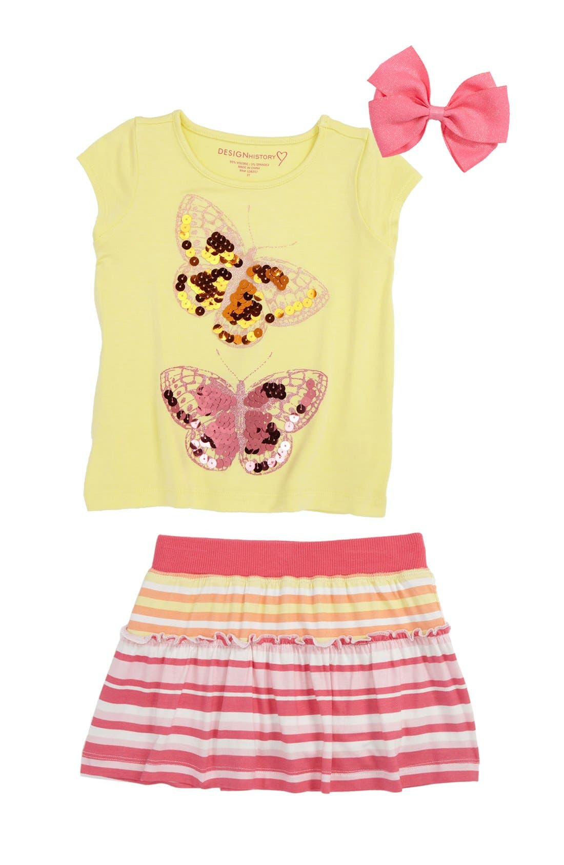 Main Image - Design History Tee & Skort & PLH Bows & Laces Hair Clip (Toddler)