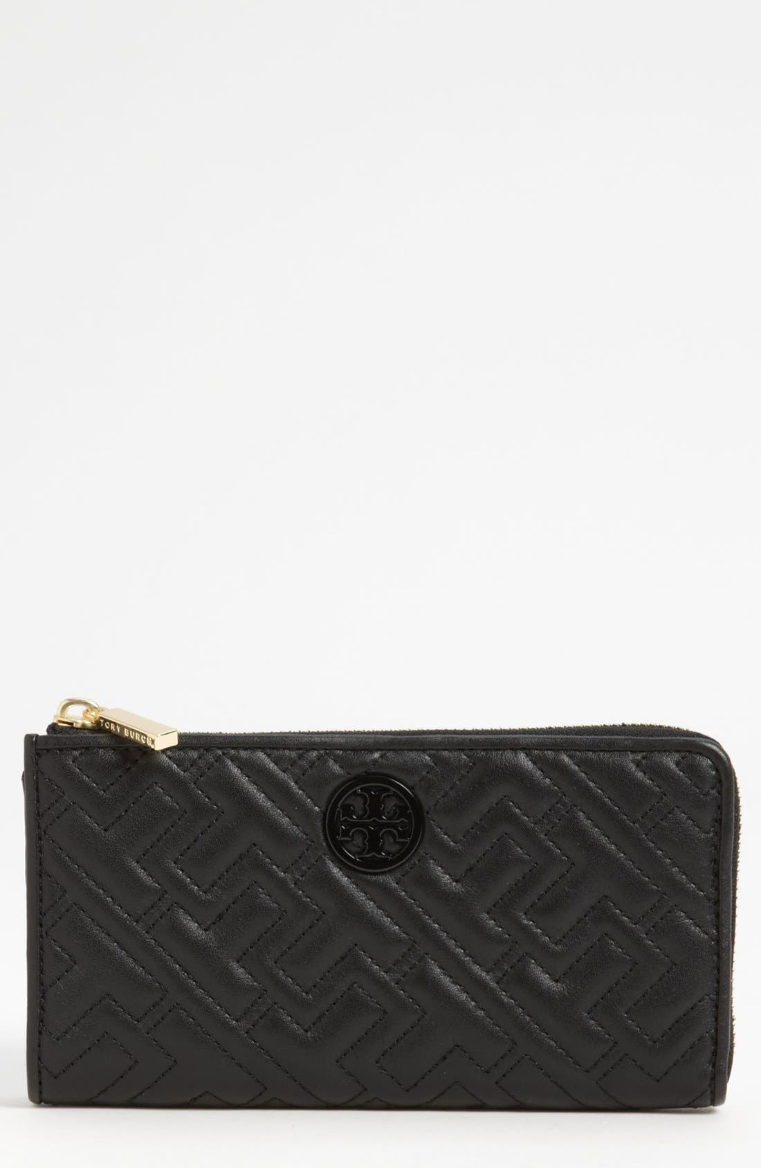 Alternate Image 1 Selected - Tory Burch Quilted Logo Leather Wallet