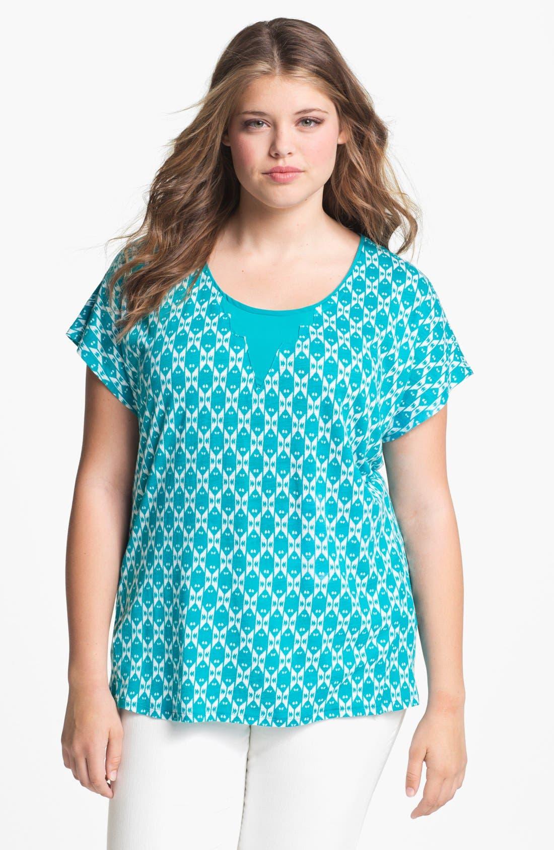 Alternate Image 1 Selected - Lucky Brand 'Carina' Ikat Print Top (Plus Size)